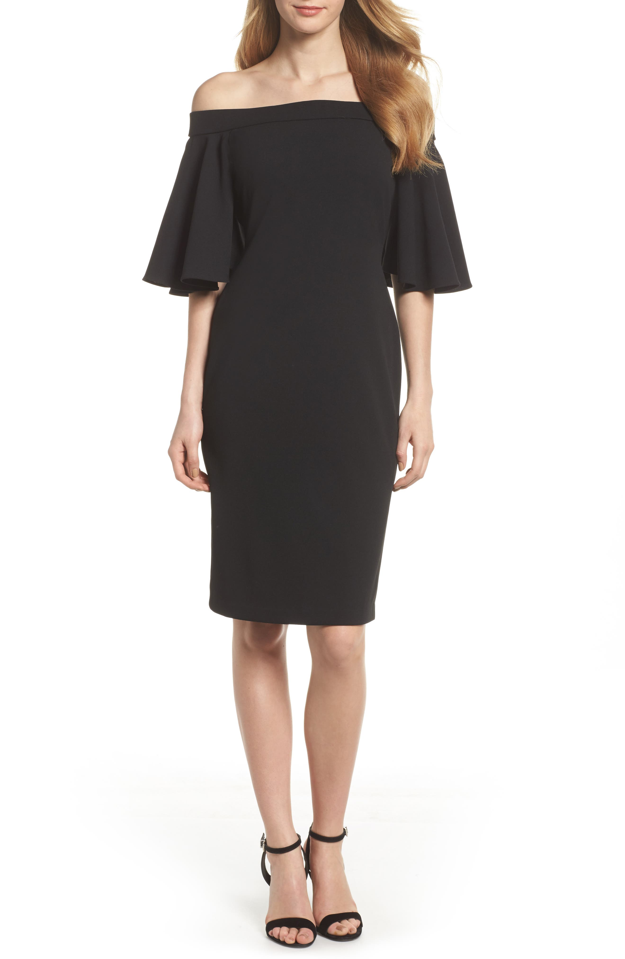 Off the Shoulder Sheath Dress,                             Main thumbnail 1, color,                             BLACK
