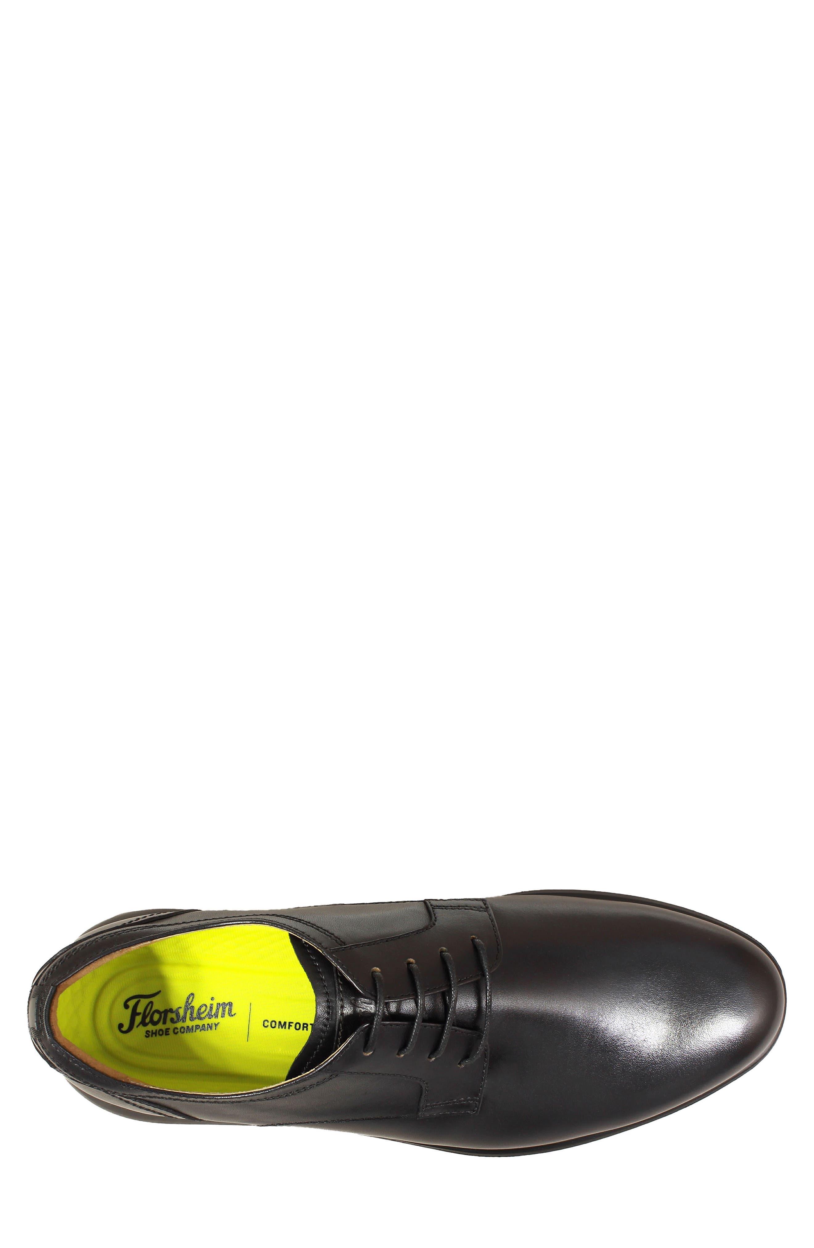Fuel Plain Toe Derby,                             Alternate thumbnail 5, color,                             BLACK LEATHER