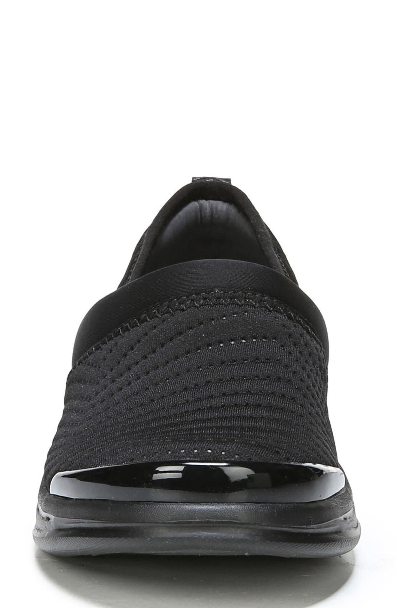 Coco Slip-On Sneaker,                             Alternate thumbnail 4, color,                             BLACK FABRIC