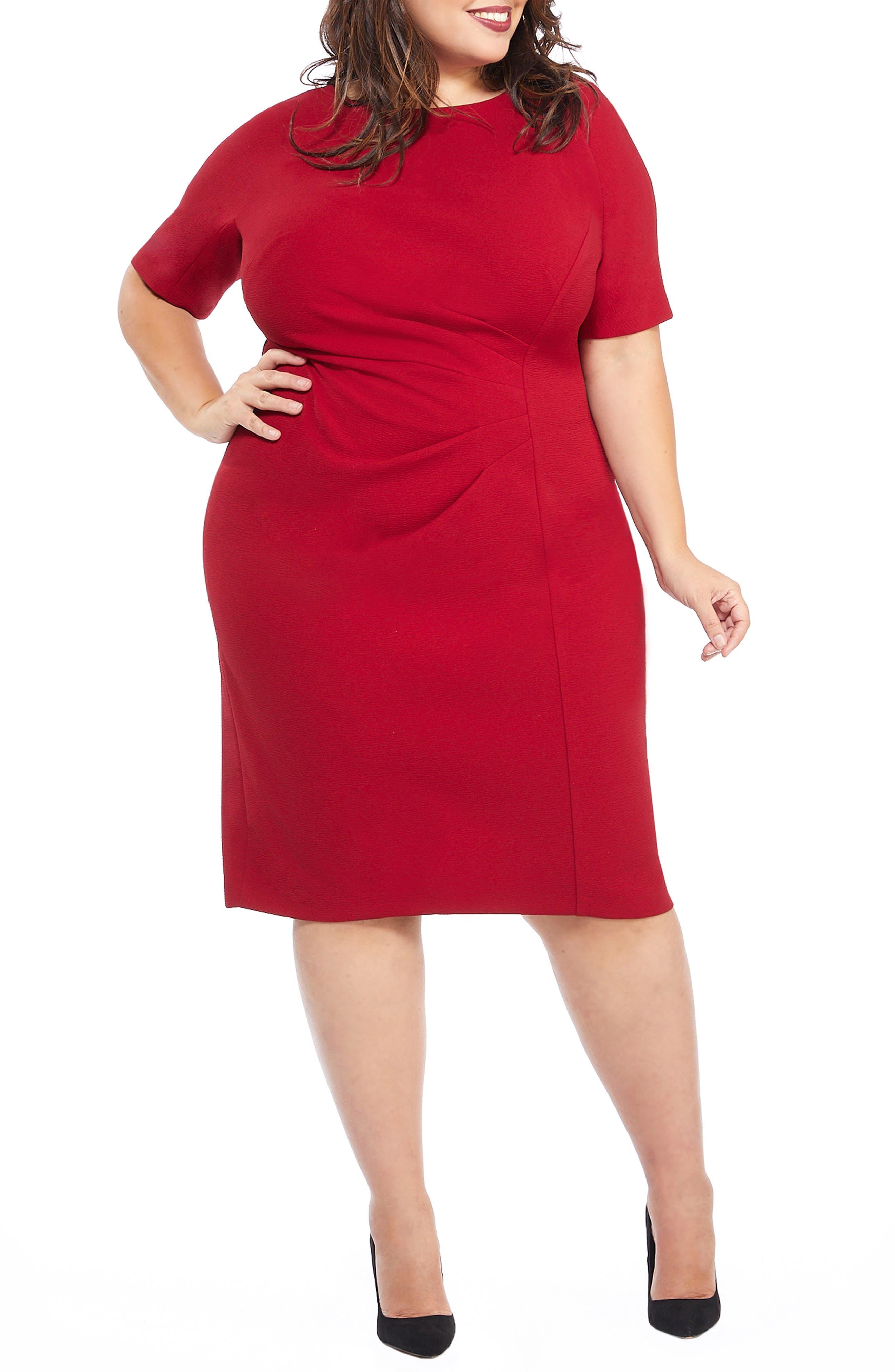 Metro Draped Side Sheath Dress, Main, color, RED