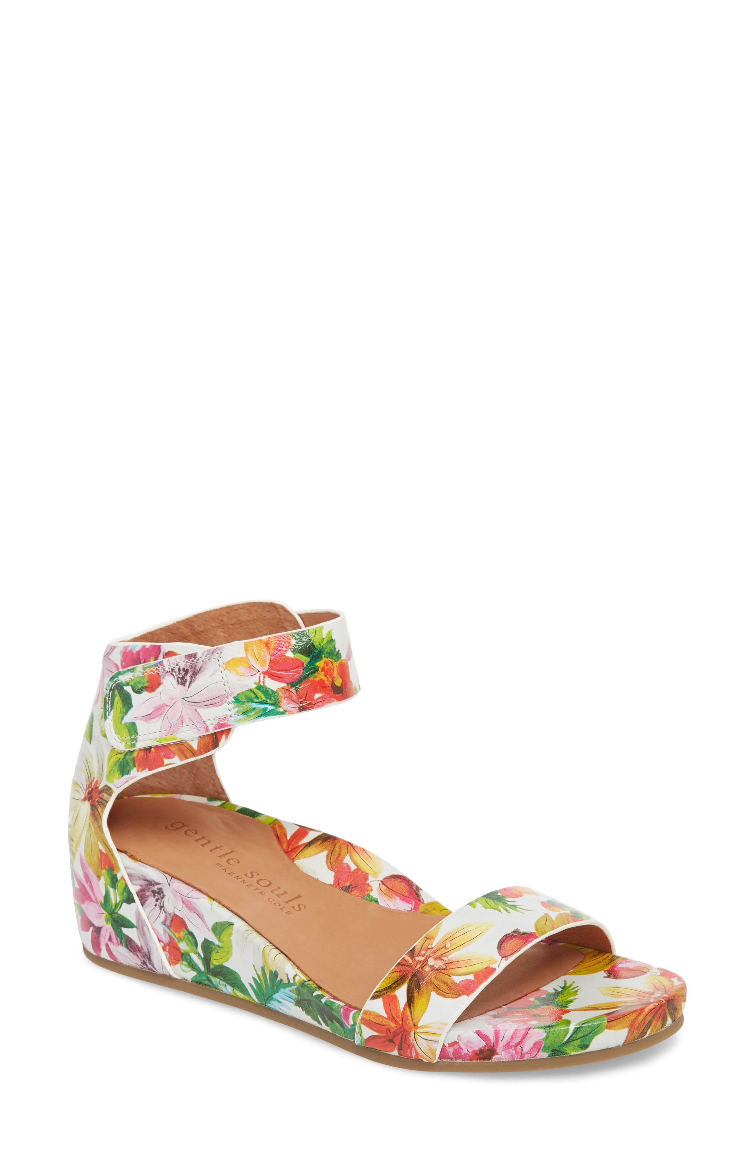 Gentle Souls by Kenneth Cole Gianna Wedge Sandal,                         Main,                         color, PALM PRINTED LEATHER