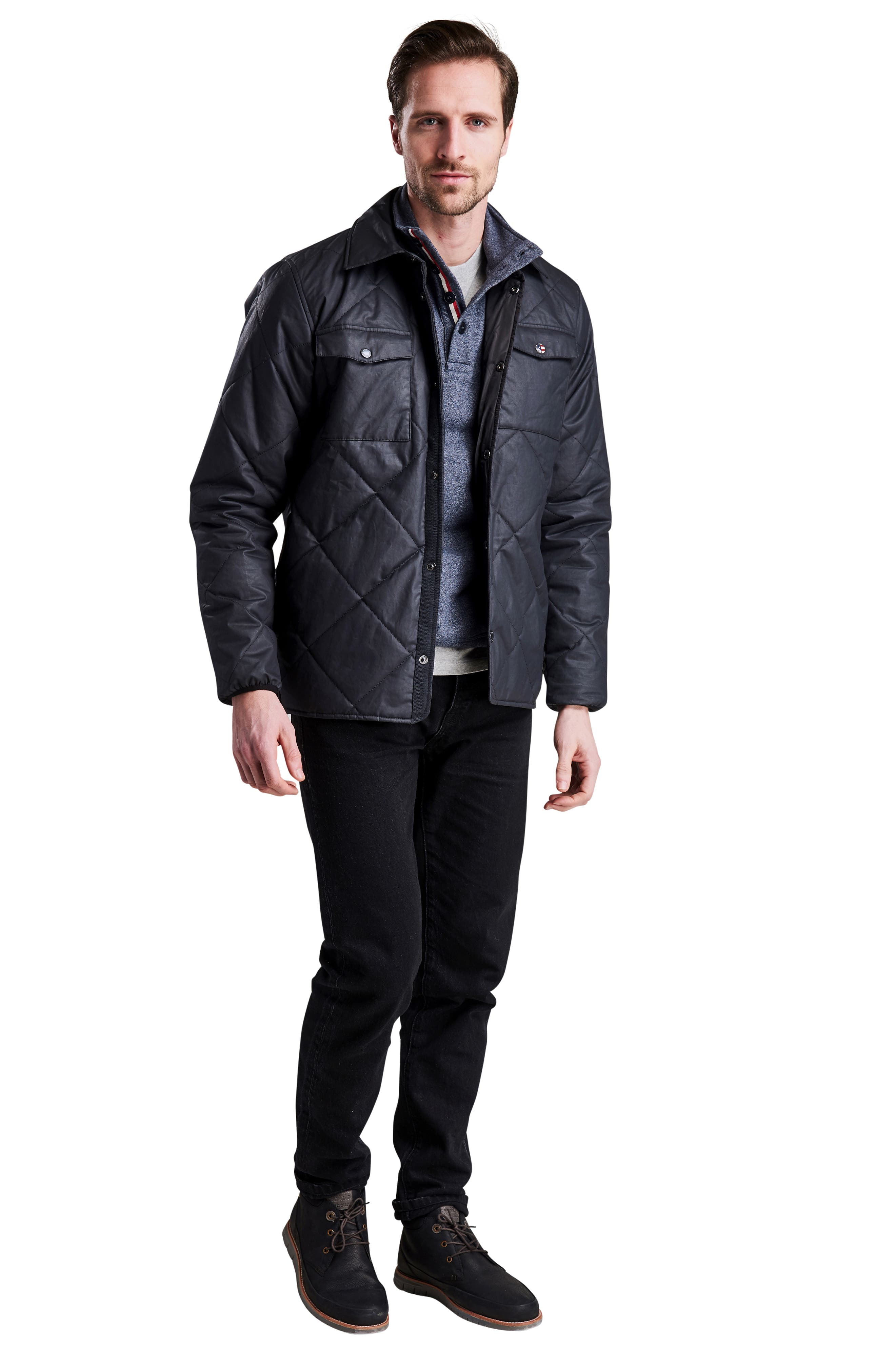 International Sonoran Quilted Shirt Jacket,                             Alternate thumbnail 6, color,                             BLACK