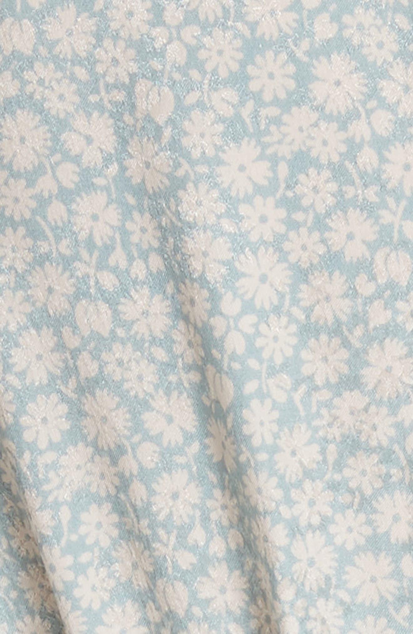 Lauren Puff Sleeve Floral Silk Jumpsuit,                             Alternate thumbnail 5, color,                             415