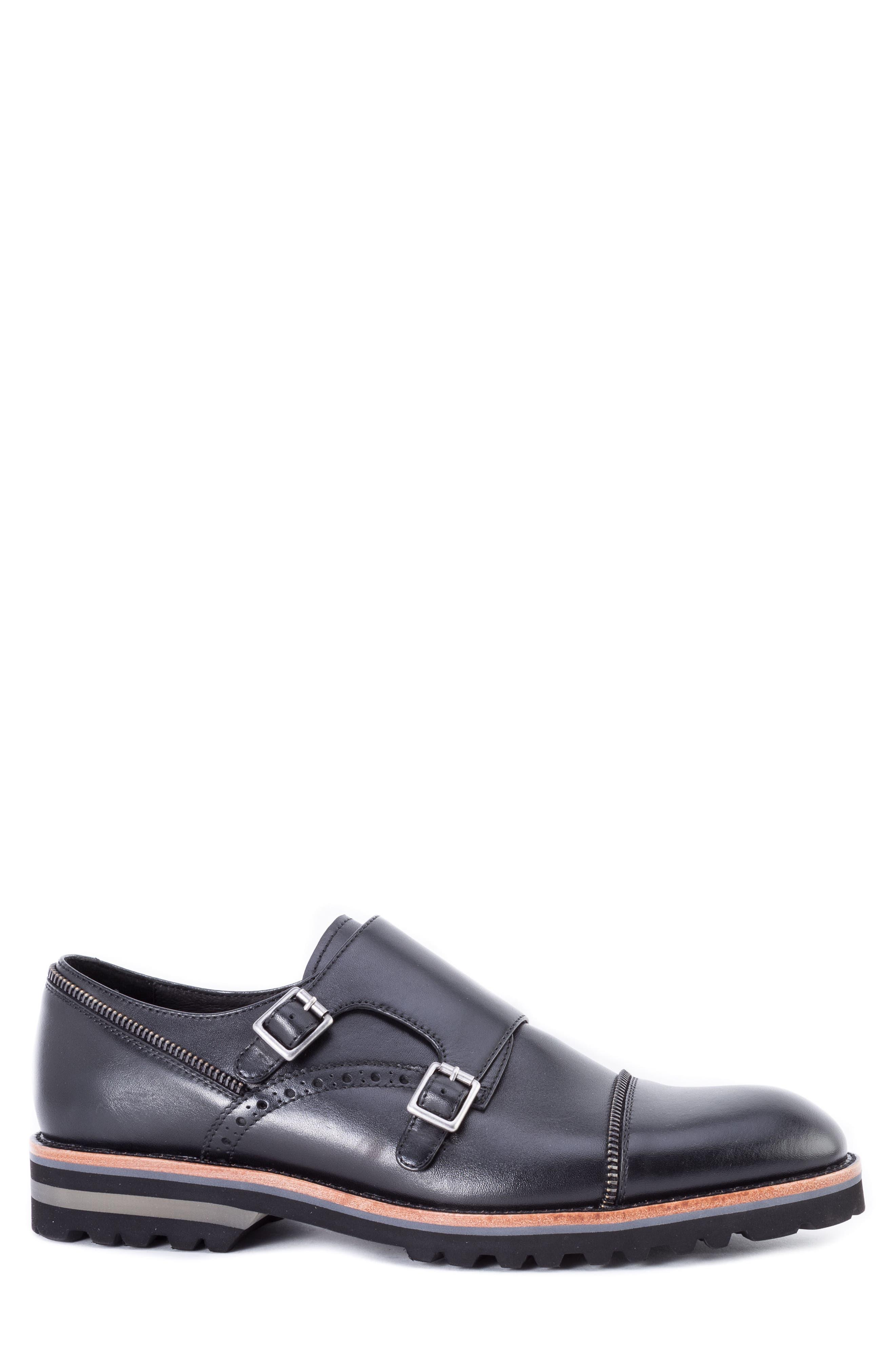 Acadia Double Buckle Monk Shoe,                             Alternate thumbnail 3, color,                             BLACK LEATHER