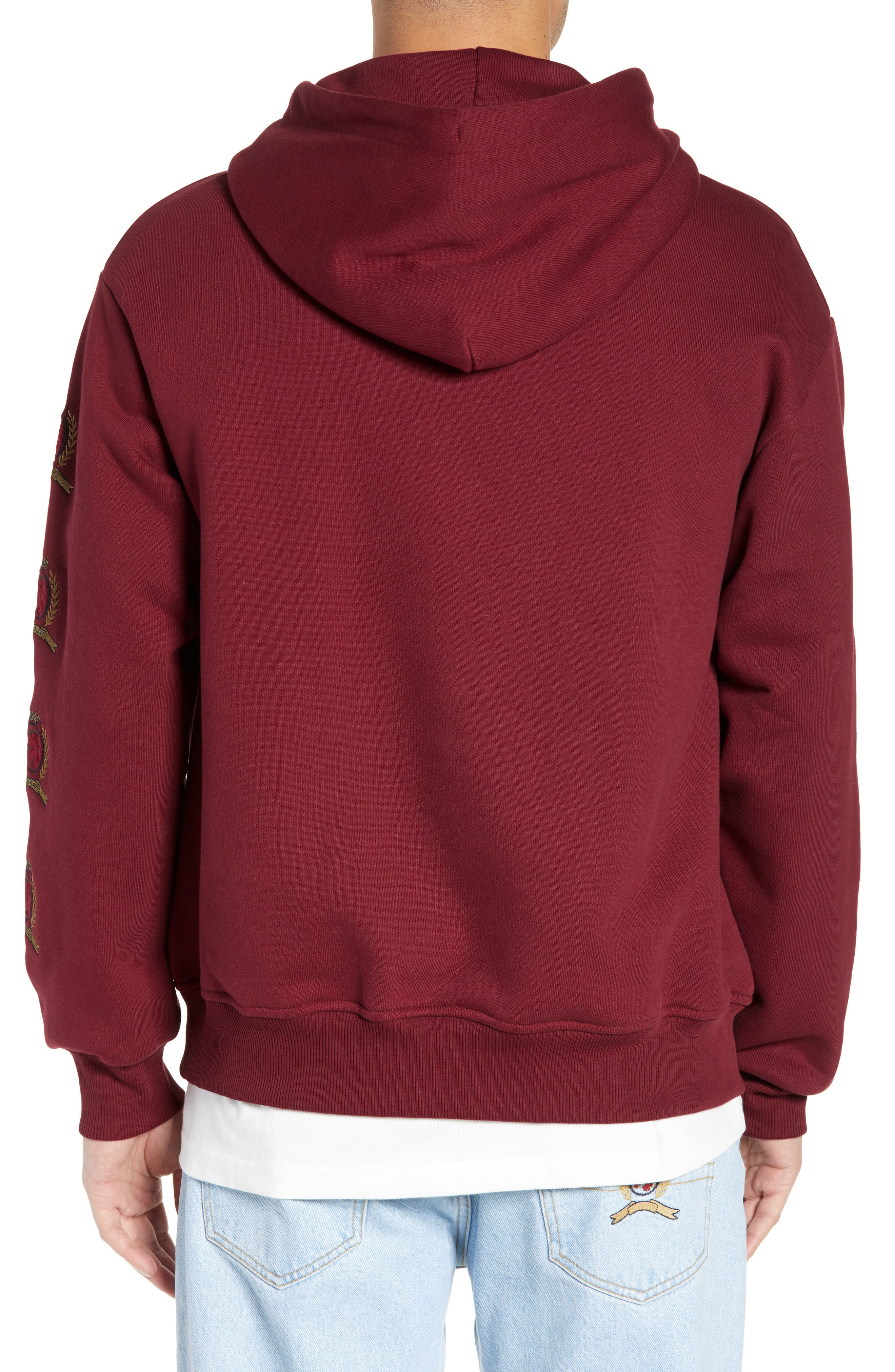Embroidered Crest Logo Hoodie,                             Alternate thumbnail 2, color,                             CABERNET