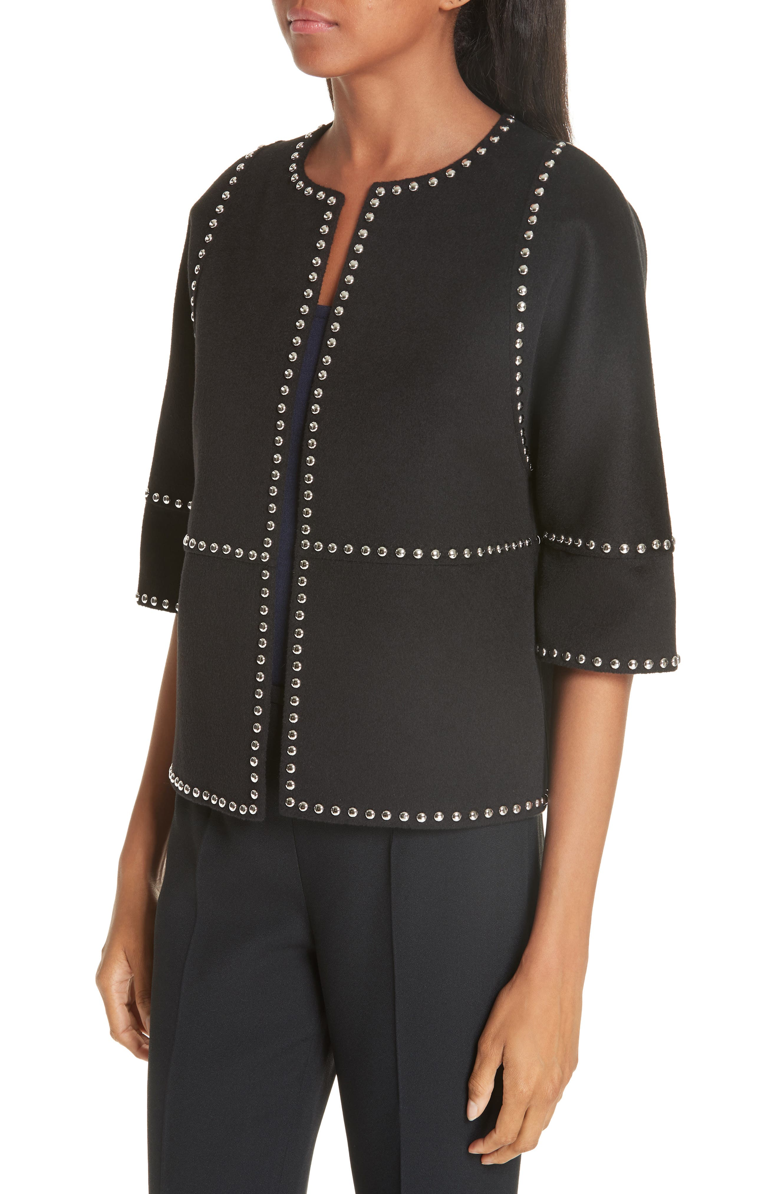 Cookie Studded Wool & Cashgora Jacket,                             Alternate thumbnail 4, color,                             BLACK
