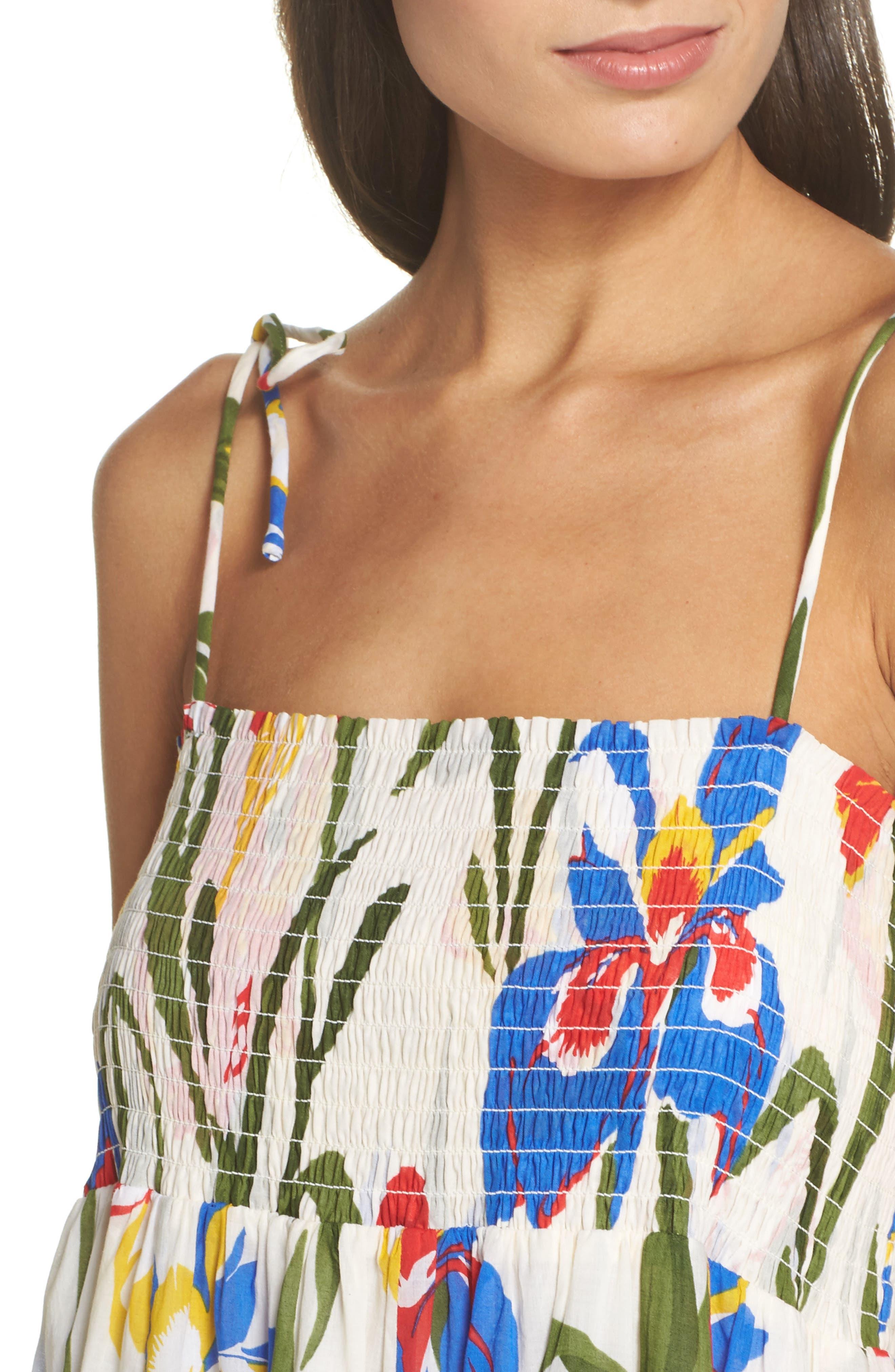 Painter Iris Convertible Cover-Up Dress,                             Alternate thumbnail 4, color,                             500