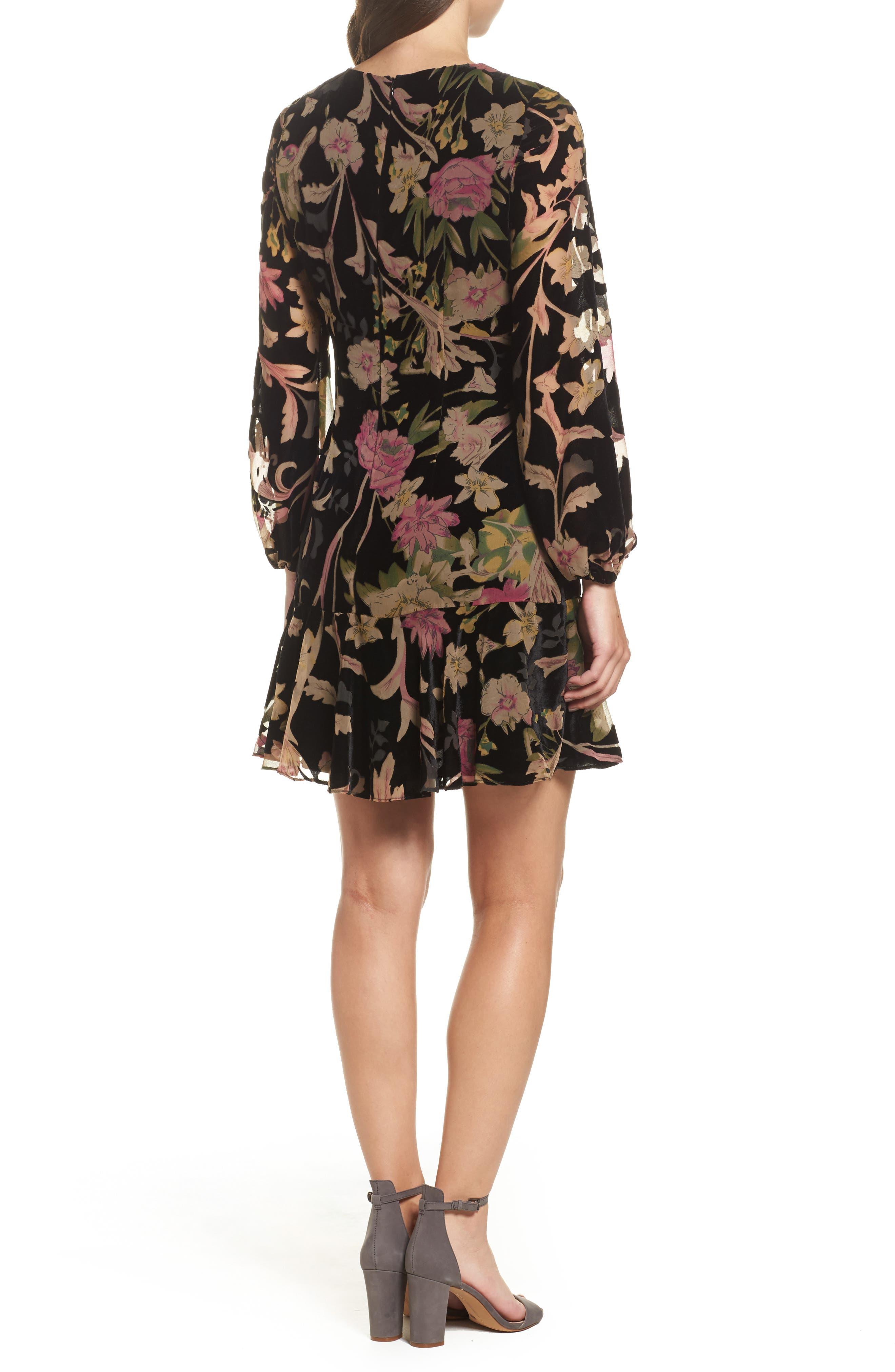 Floral Print Velvet Shift Dress,                             Alternate thumbnail 2, color,                             BLACK