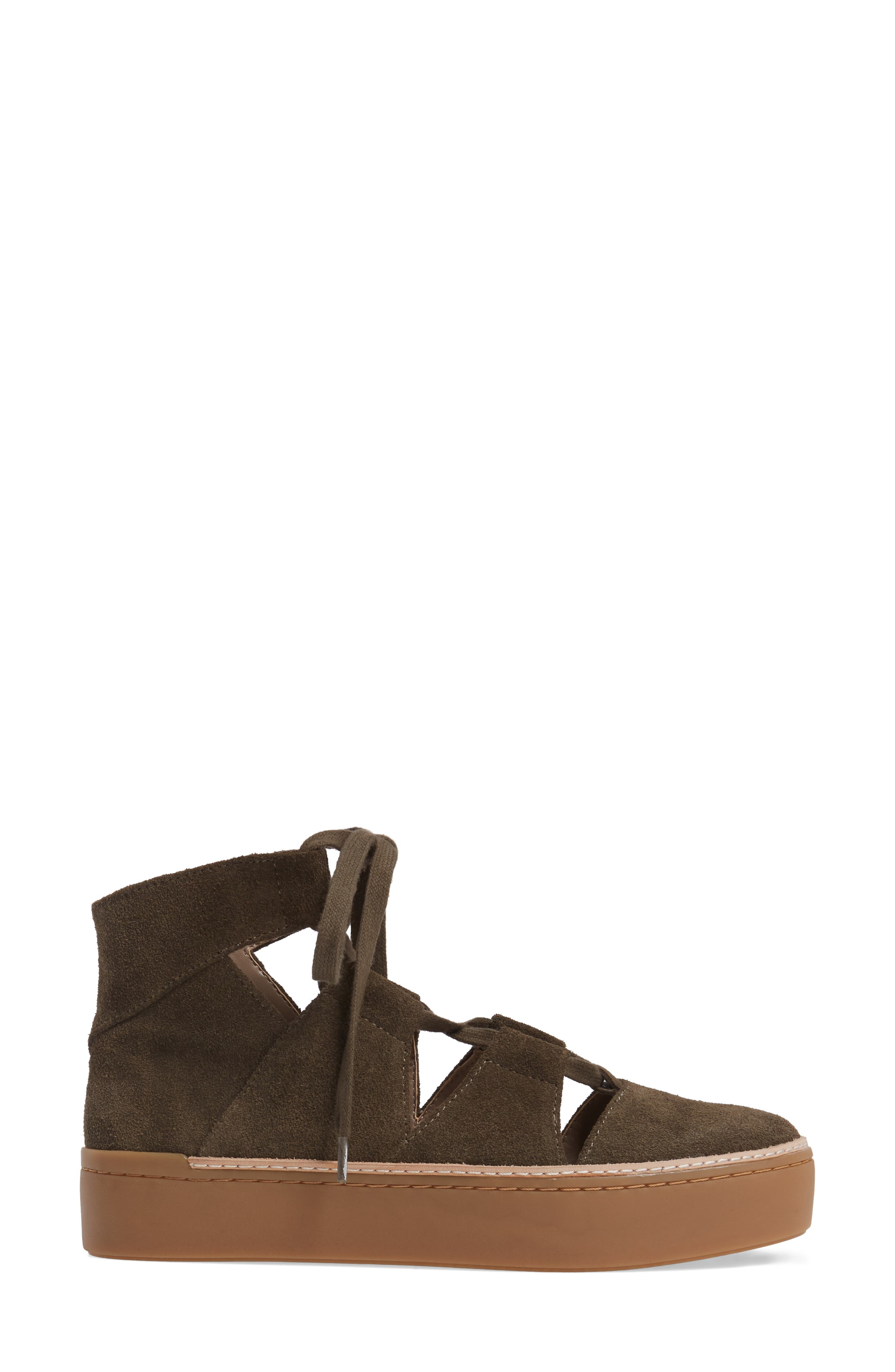 M4D3 Savanah Ghillie Platform Sneaker,                             Alternate thumbnail 3, color,                             DEEP TAUPE LEATHER