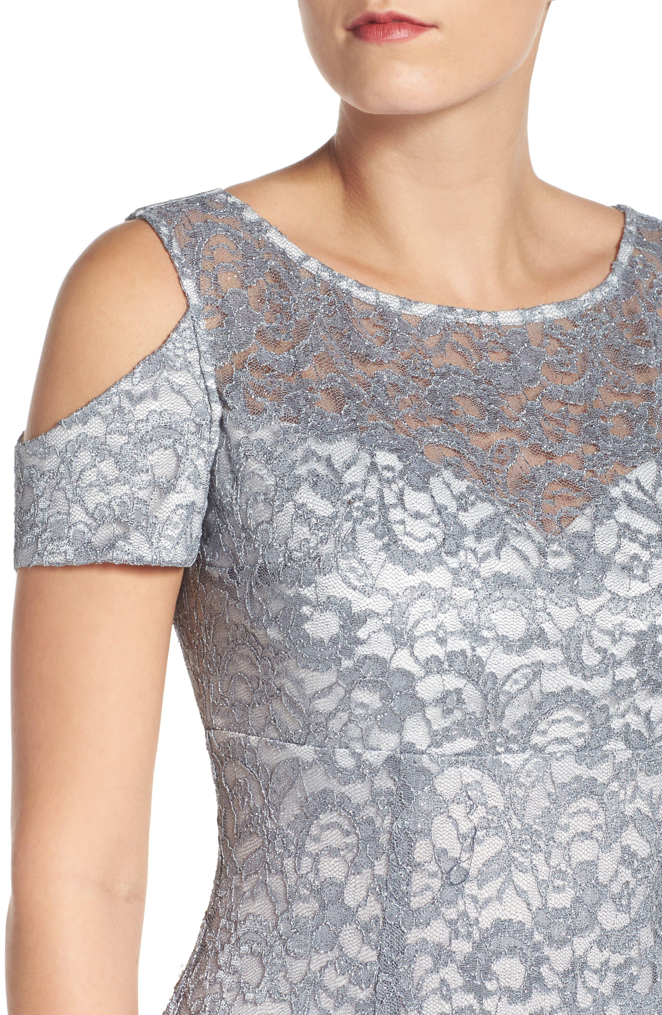 Cold Shoulder Lace Gown,                             Alternate thumbnail 7, color,