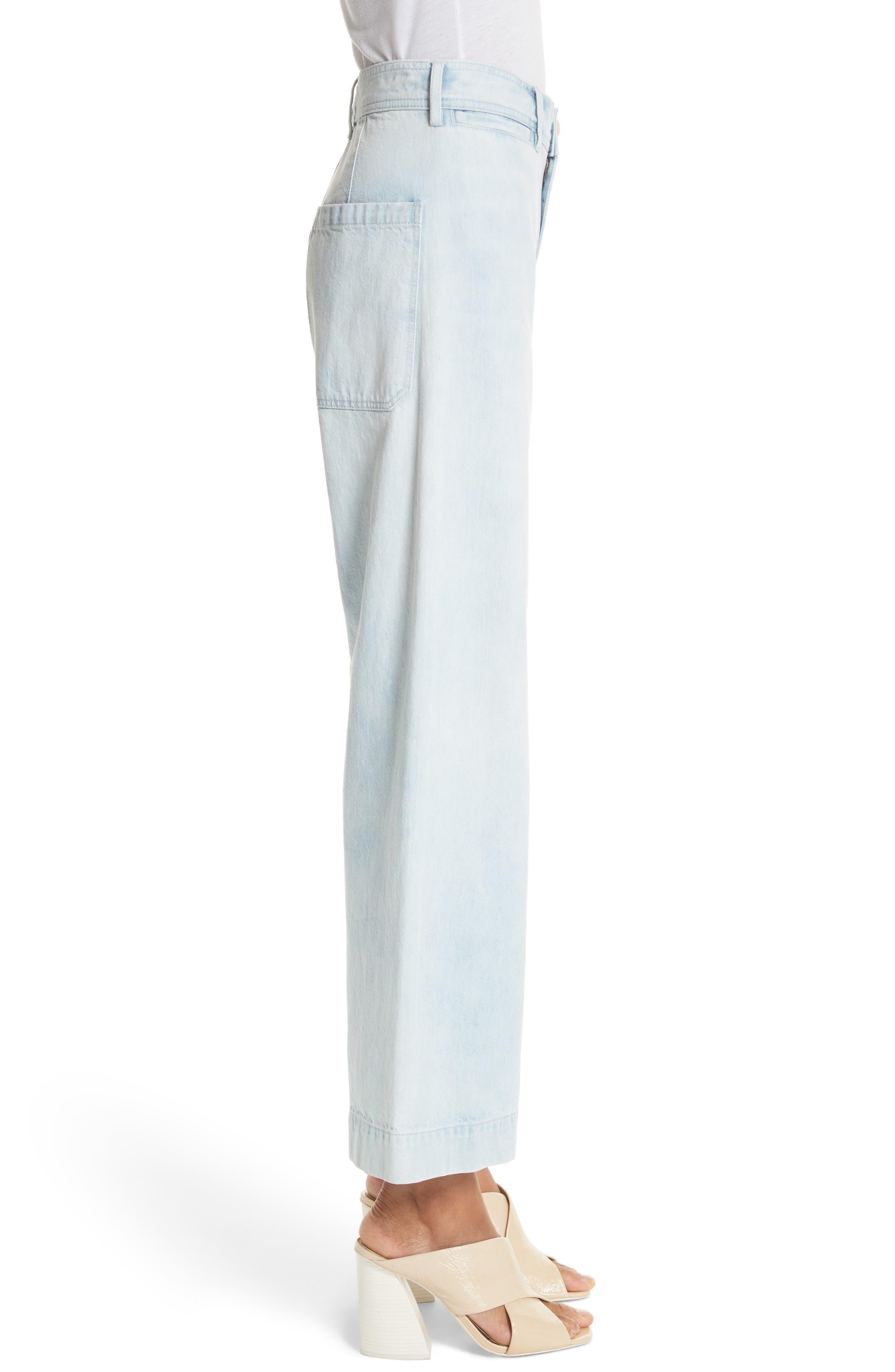 Crop Wide Leg Jeans,                             Alternate thumbnail 3, color,                             NUAGE WASH