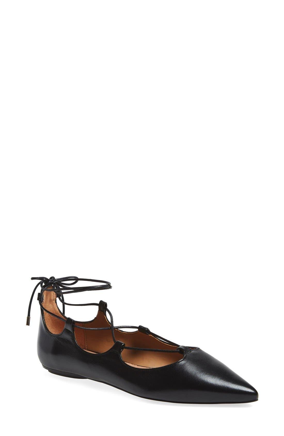 'Leather Kingdom' Pointy Toe Flat, Main, color, 001