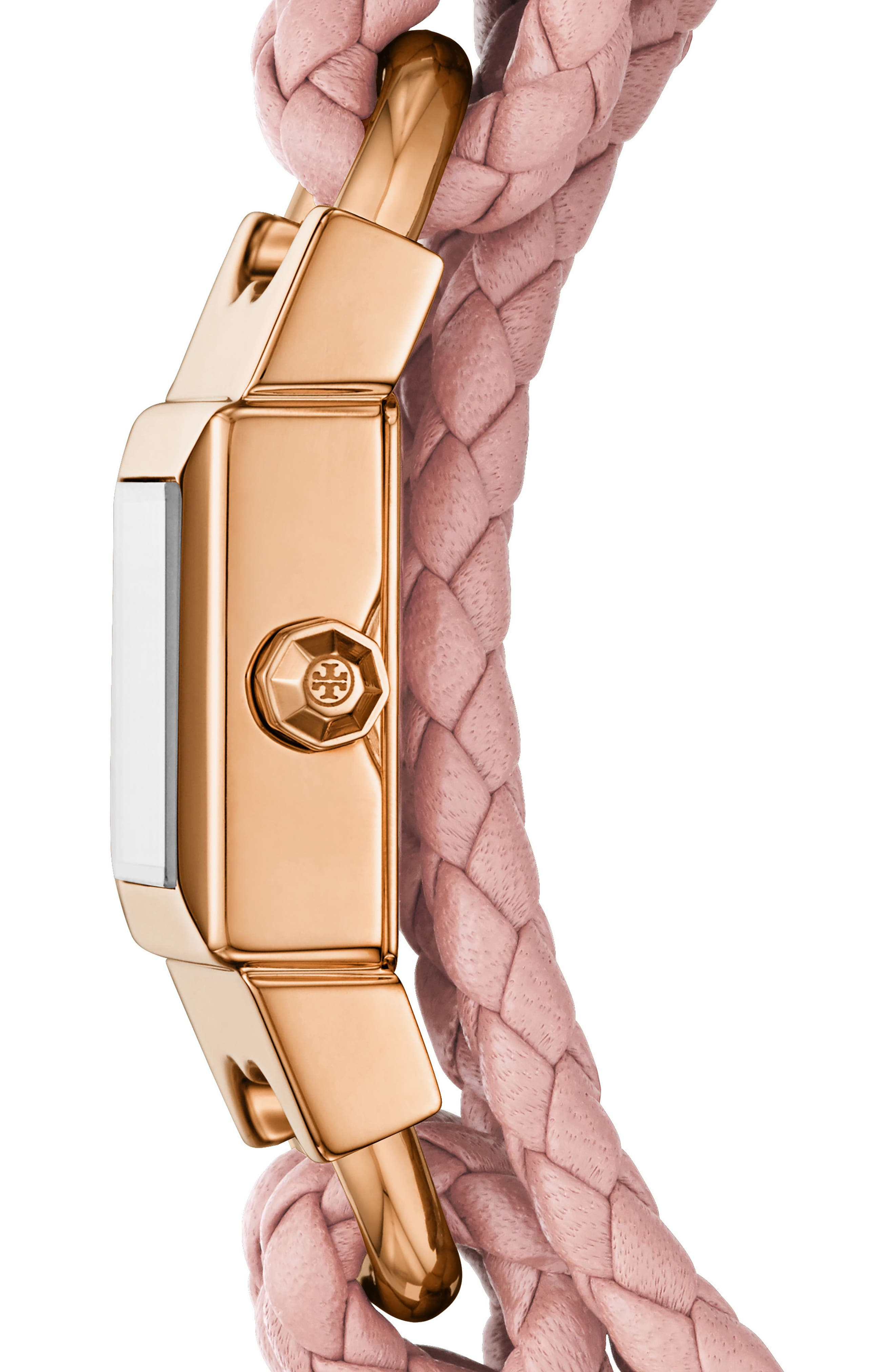 Gemini Link Square Leather Strap Watch, 18mm,                             Alternate thumbnail 2, color,                             PINK/ CREAM/ GOLD