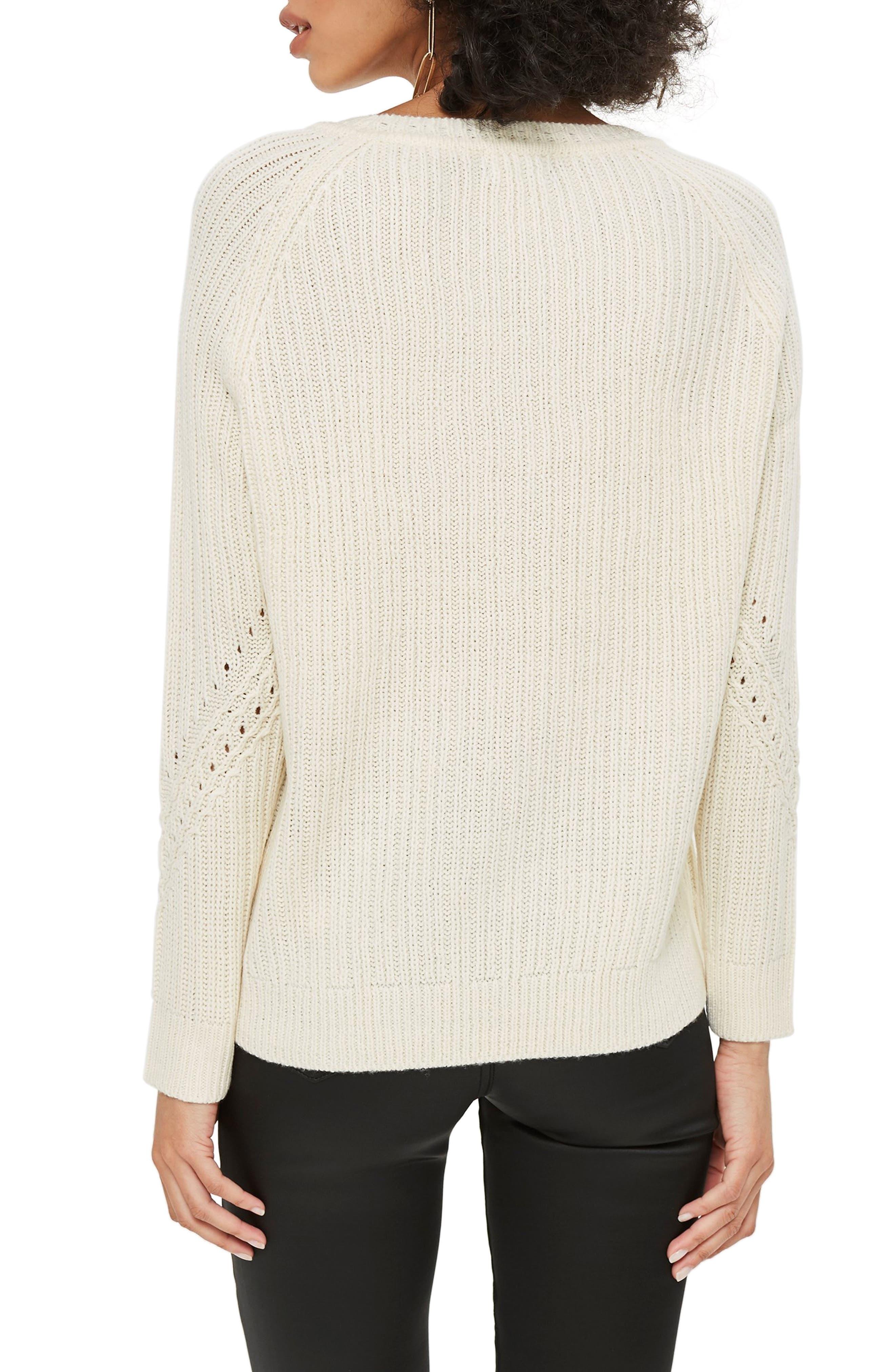 Rib & Pointelle Stitch Sweater,                             Alternate thumbnail 2, color,                             IVORY