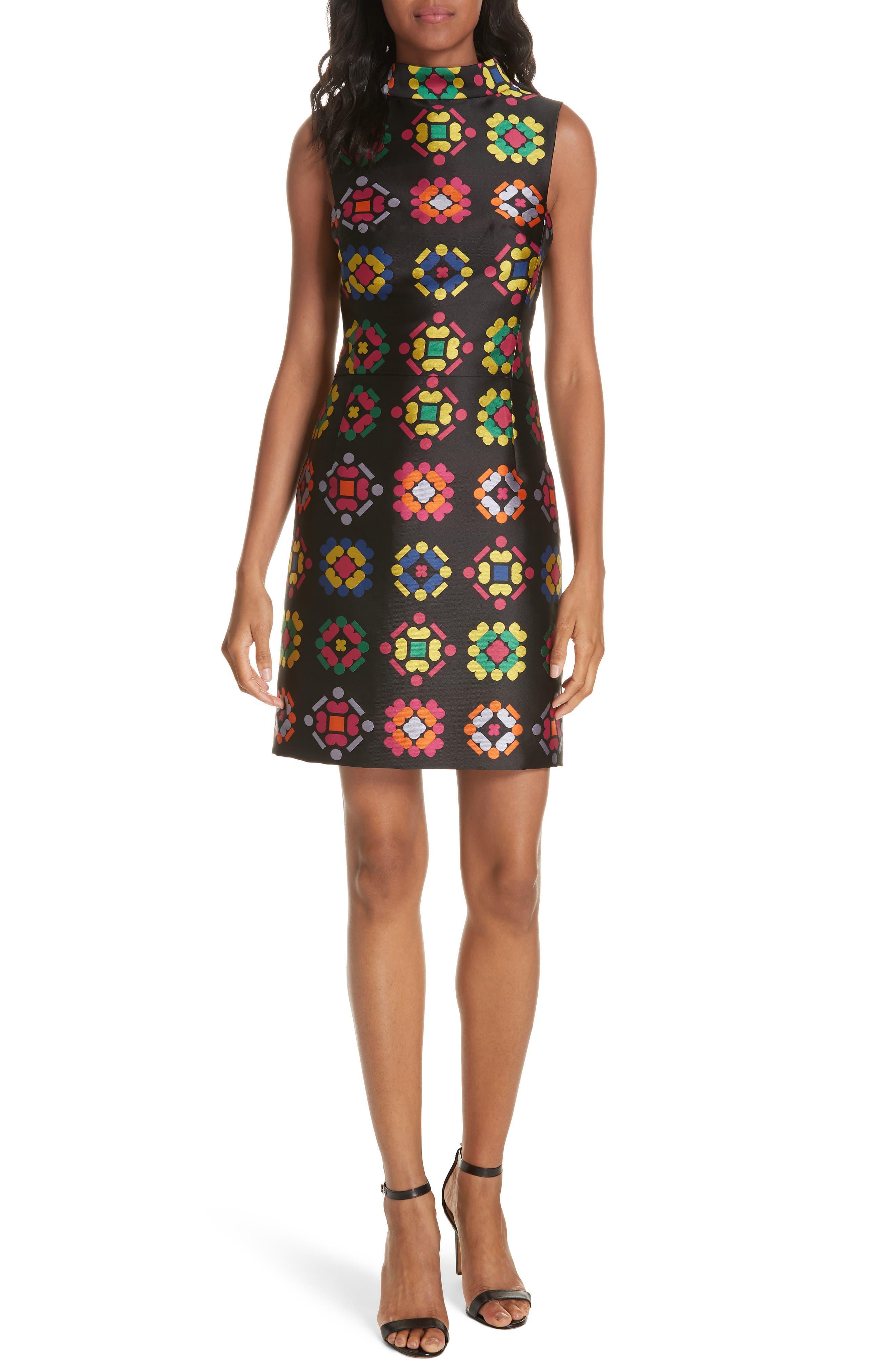 Melinda Geometric Jacquard Sheath Dress,                             Main thumbnail 1, color,                             001