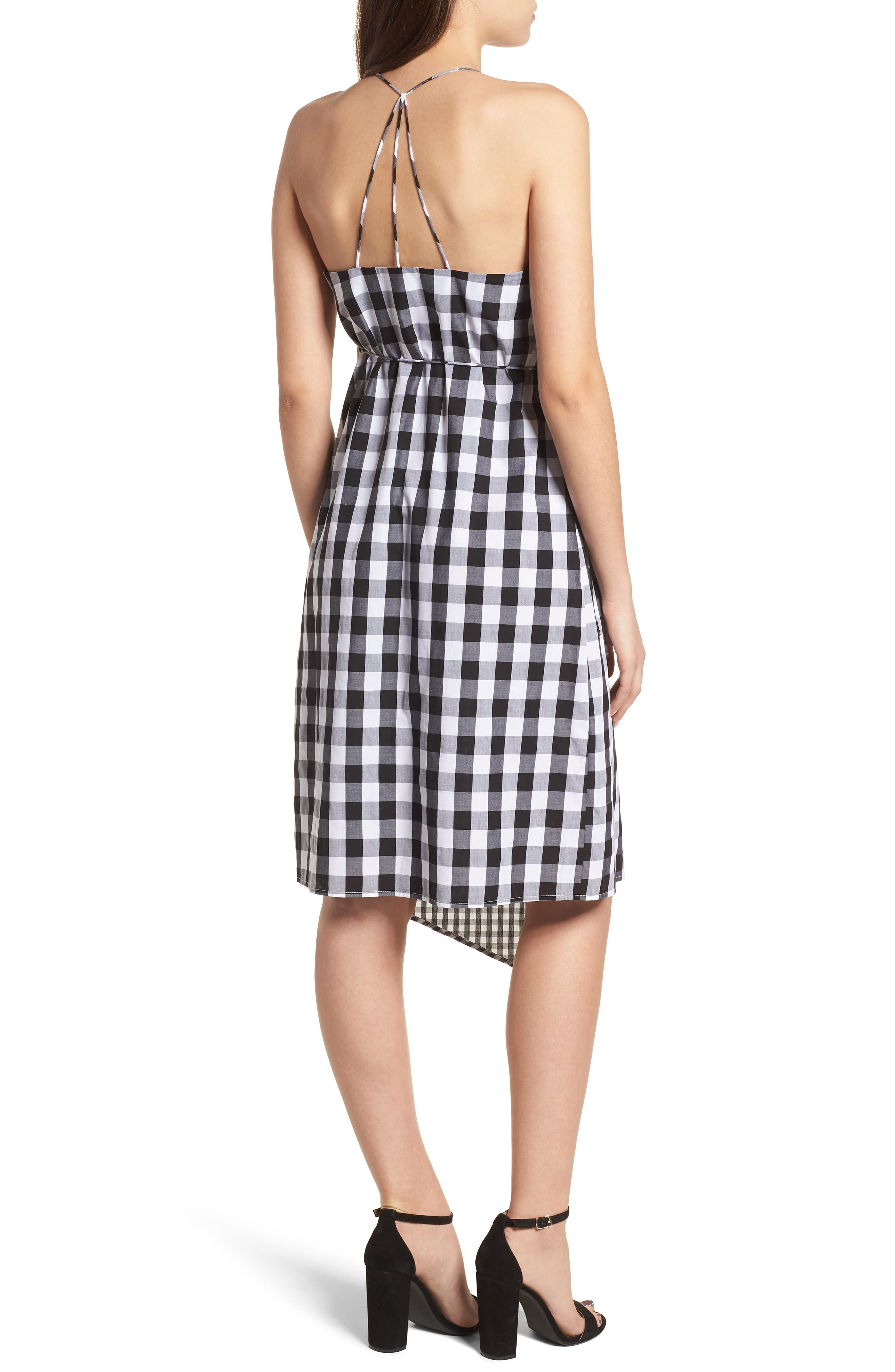 Mixed Gingham Print Wrap Dress,                             Alternate thumbnail 2, color,                             001