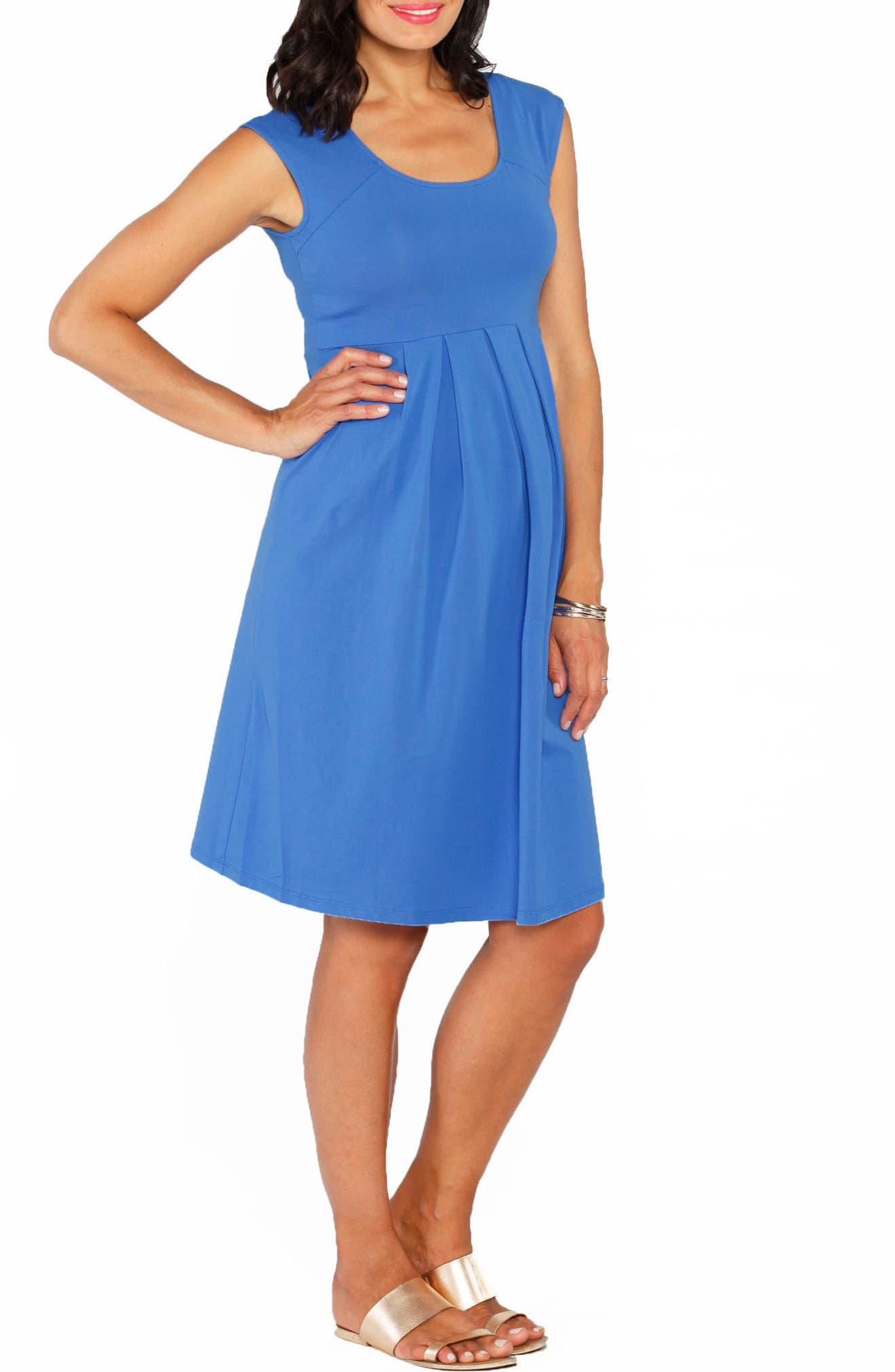 Stretch Cotton Maternity Dress,                         Main,                         color, BLUE