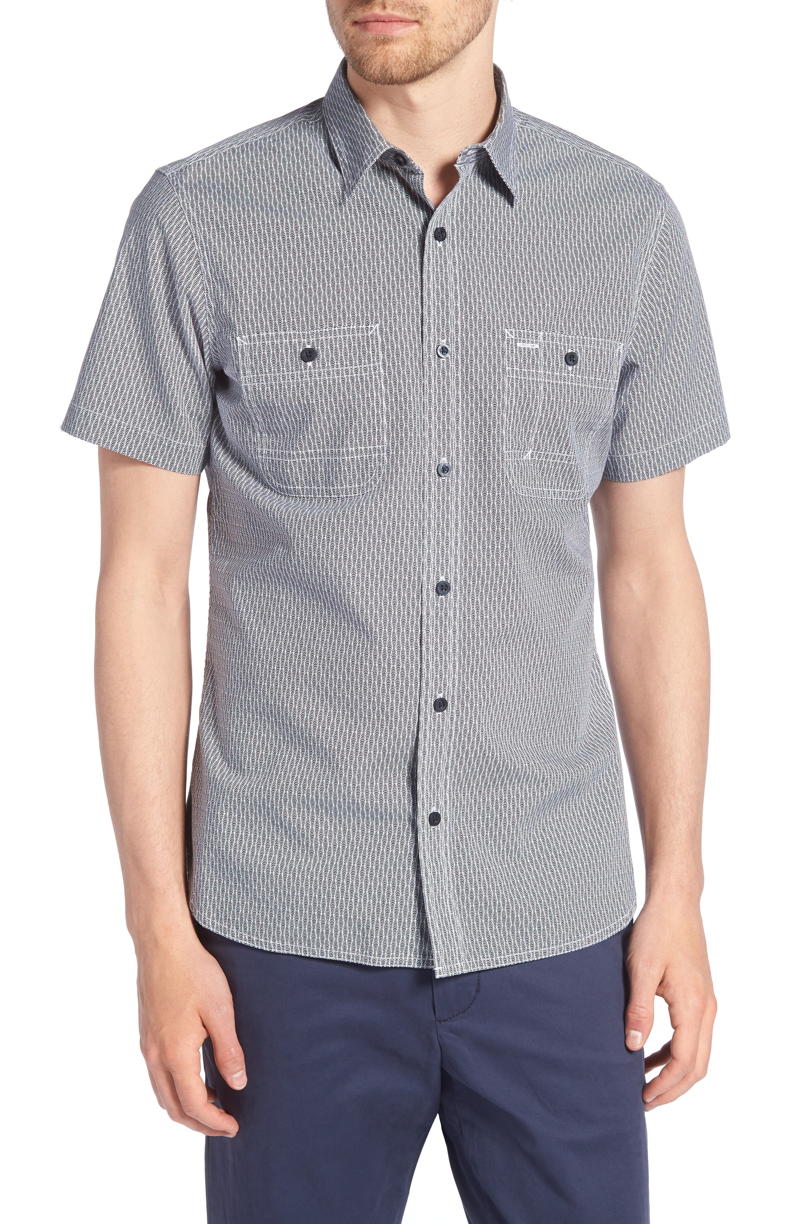 Workwear Trim Fit Print Sport Shirt,                             Main thumbnail 1, color,