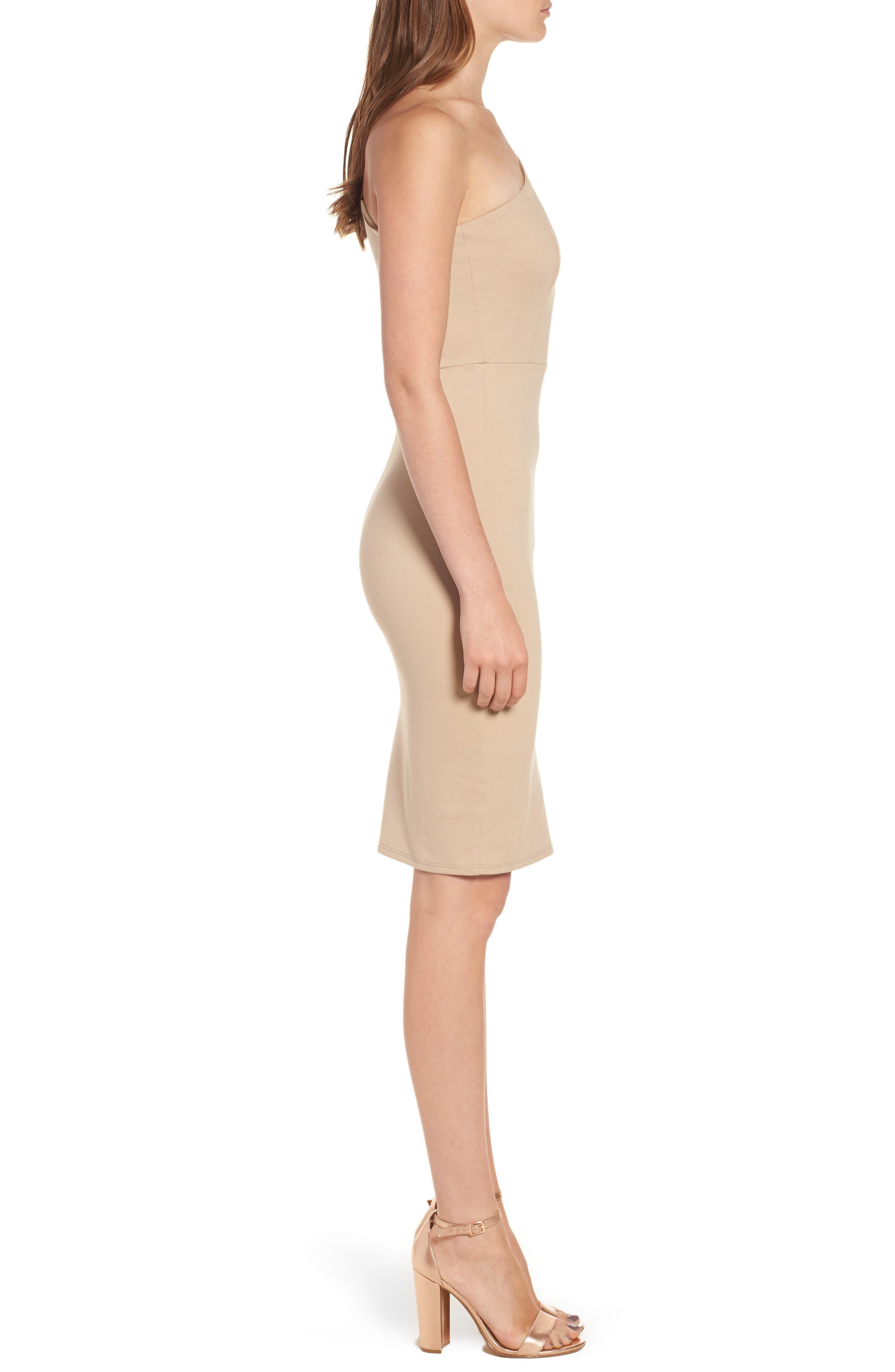 One-Shoulder Body-Con Dress,                             Alternate thumbnail 8, color,