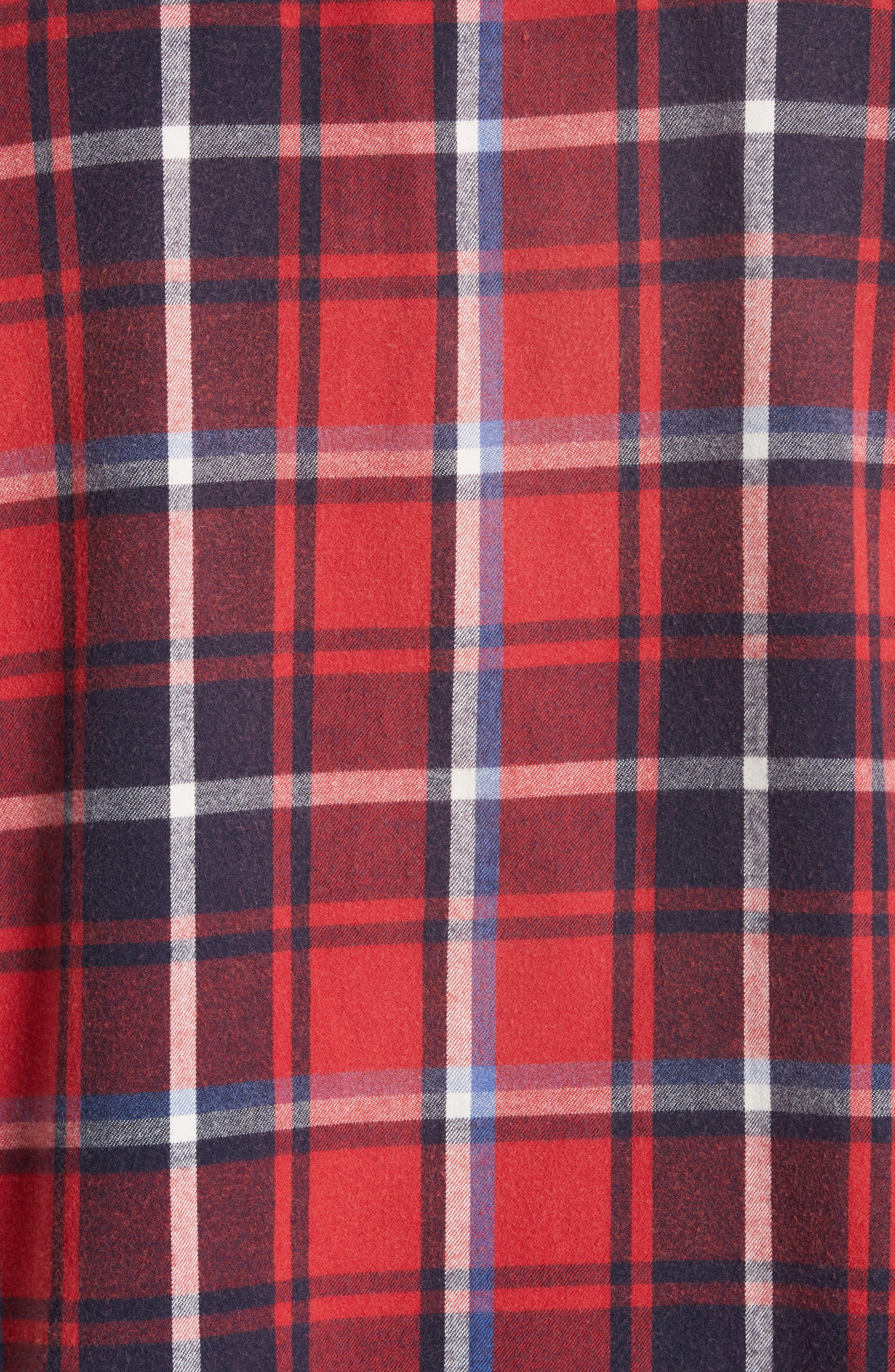 Oversize Cut Off Flannel Shirt,                             Alternate thumbnail 5, color,                             RED