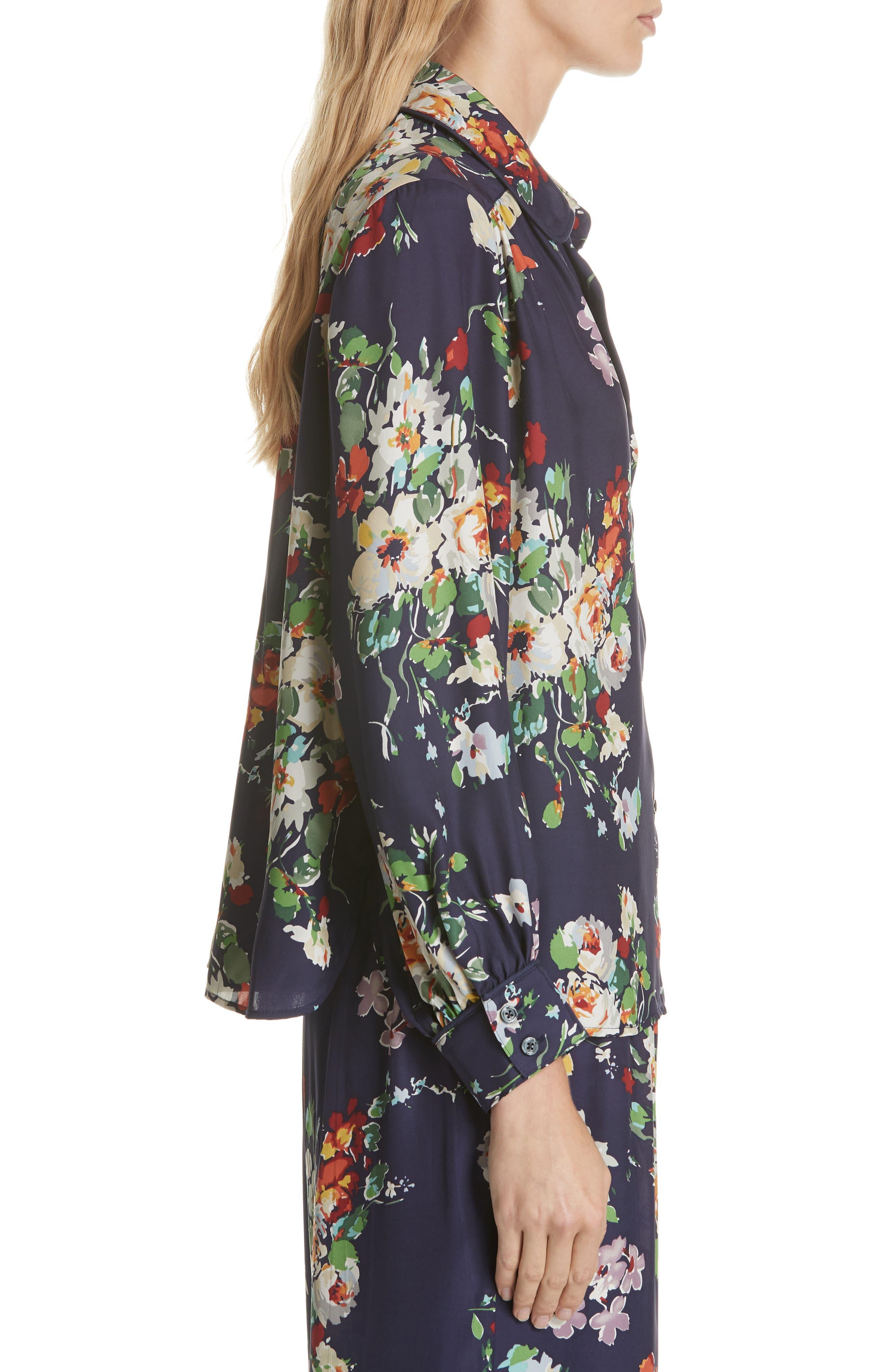 Floral Silk Blouse,                             Alternate thumbnail 3, color,                             NIGHTFALL FLORAL PRINT