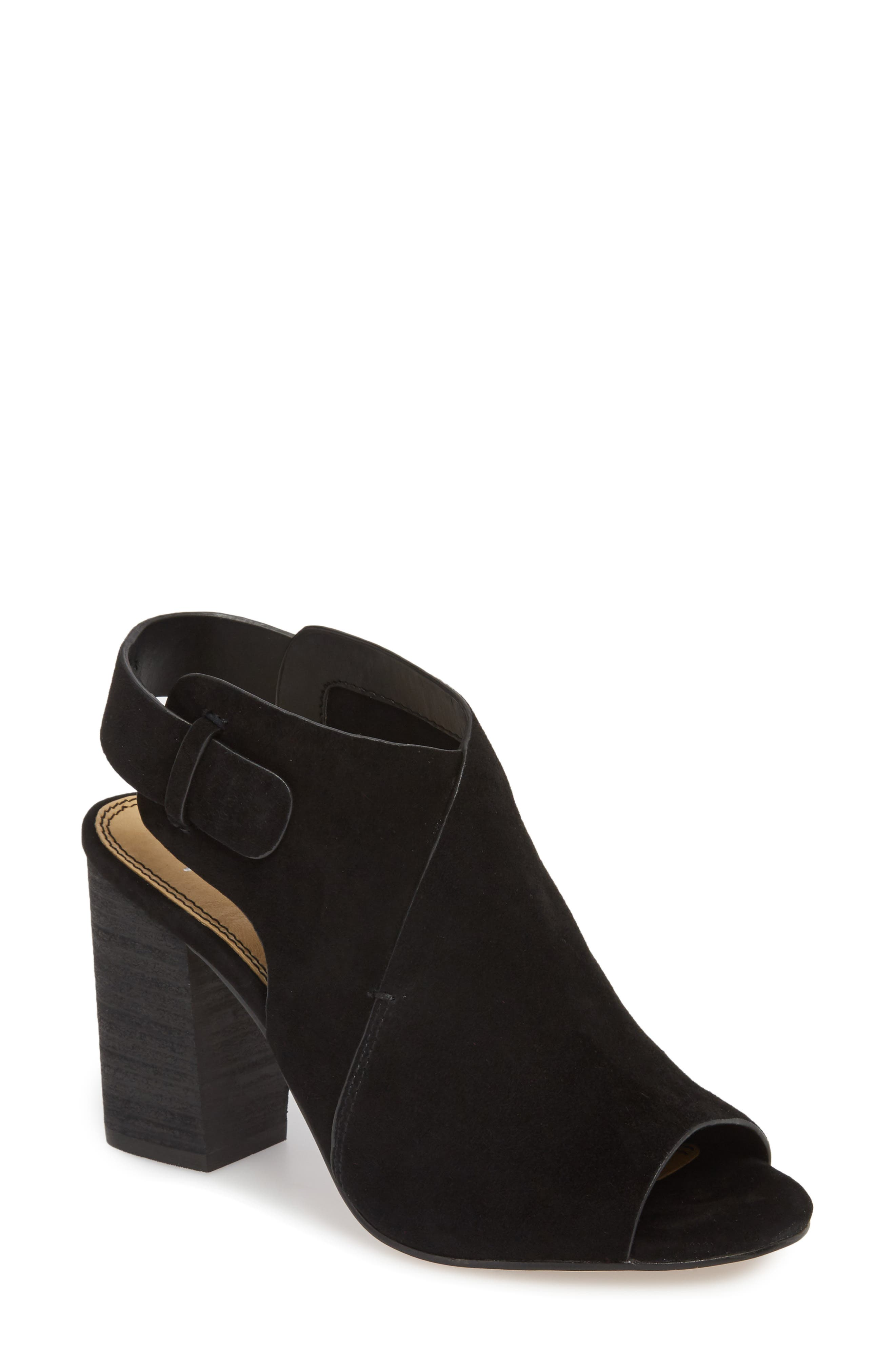 Nikolai Stack Heel Sandal,                         Main,                         color, BLACK SUEDE