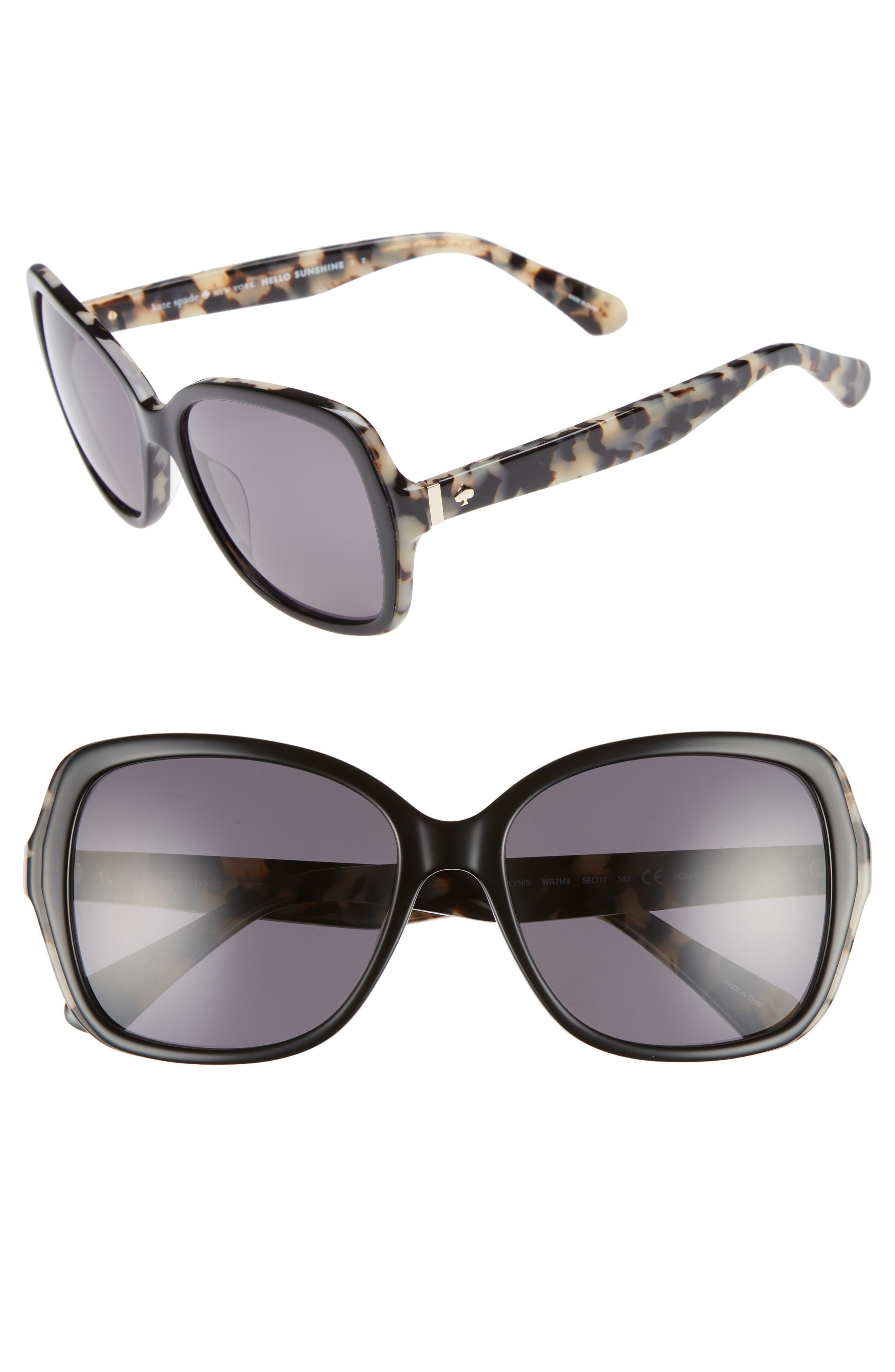 karalyns 56mm polarized sunglasses,                             Main thumbnail 1, color,                             BLACK HAVANA POLAR