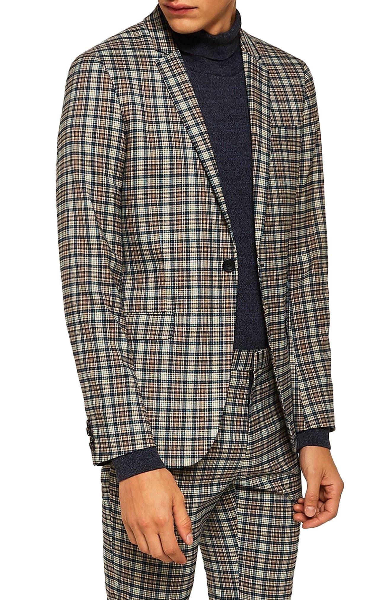 Ultra Skinny Fit Check Suit Jacket,                             Alternate thumbnail 3, color,                             BLACK MULTI