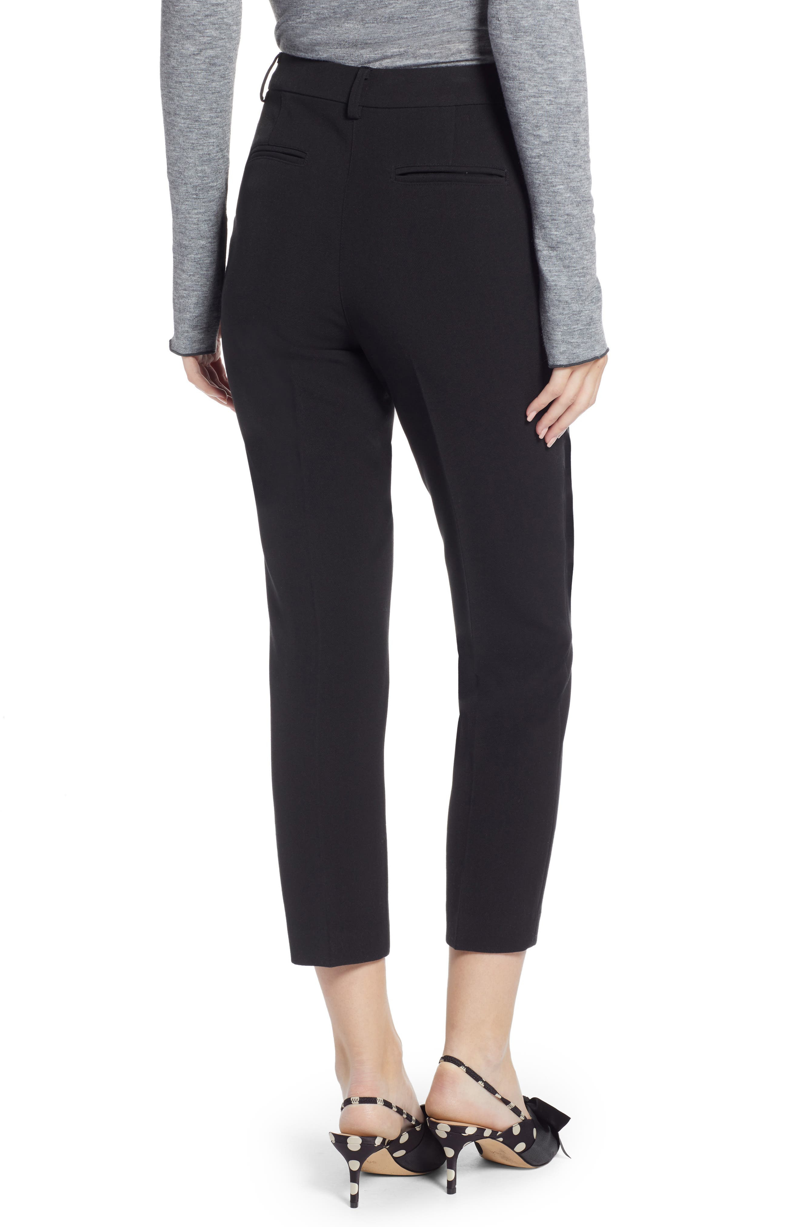 SOMETHING NAVY,                             Flat Front Trousers,                             Alternate thumbnail 2, color,                             BLACK