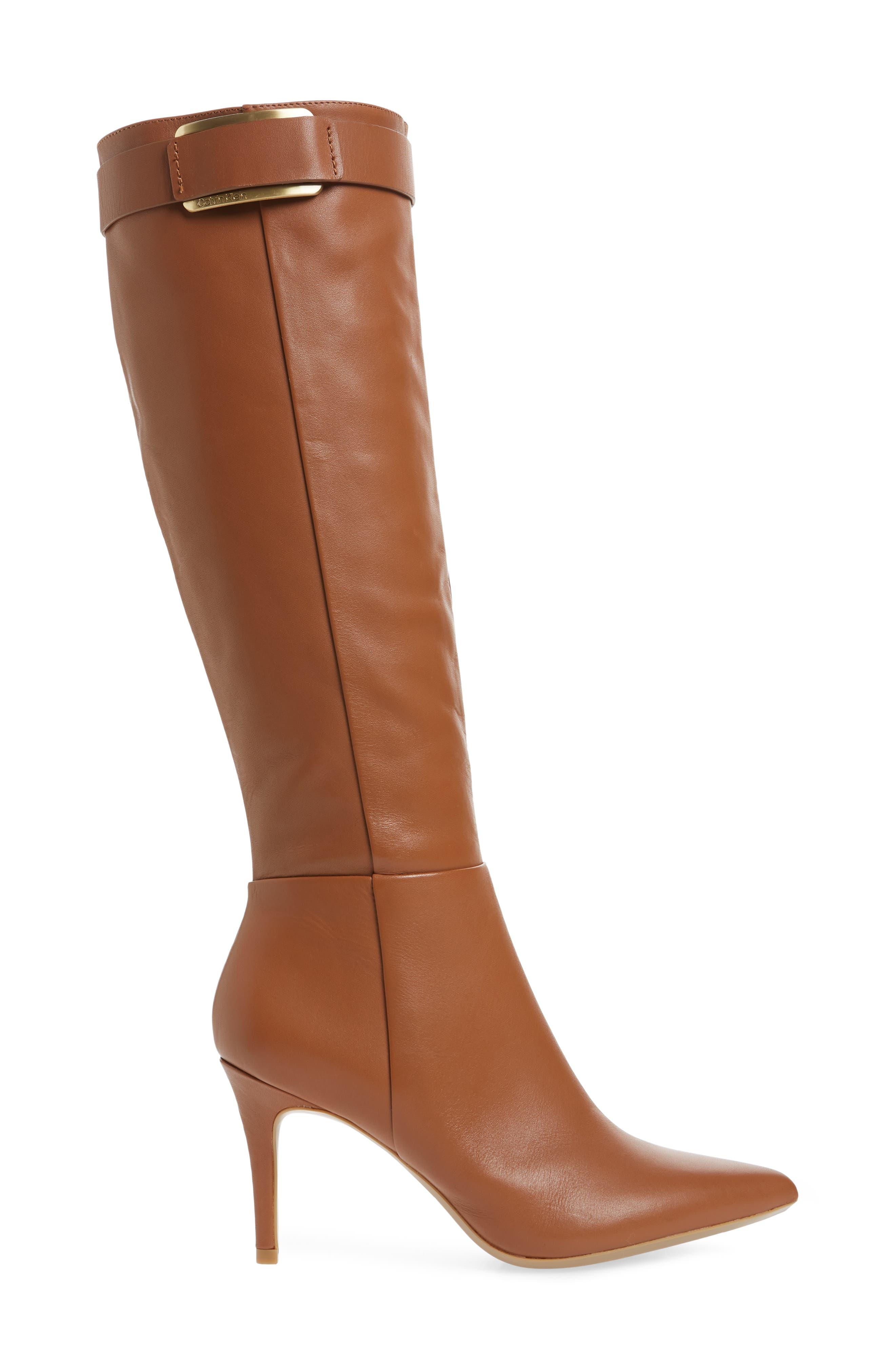 Glydia Stiletto Knee High Boot,                             Alternate thumbnail 3, color,                             COGNAC LEATHER