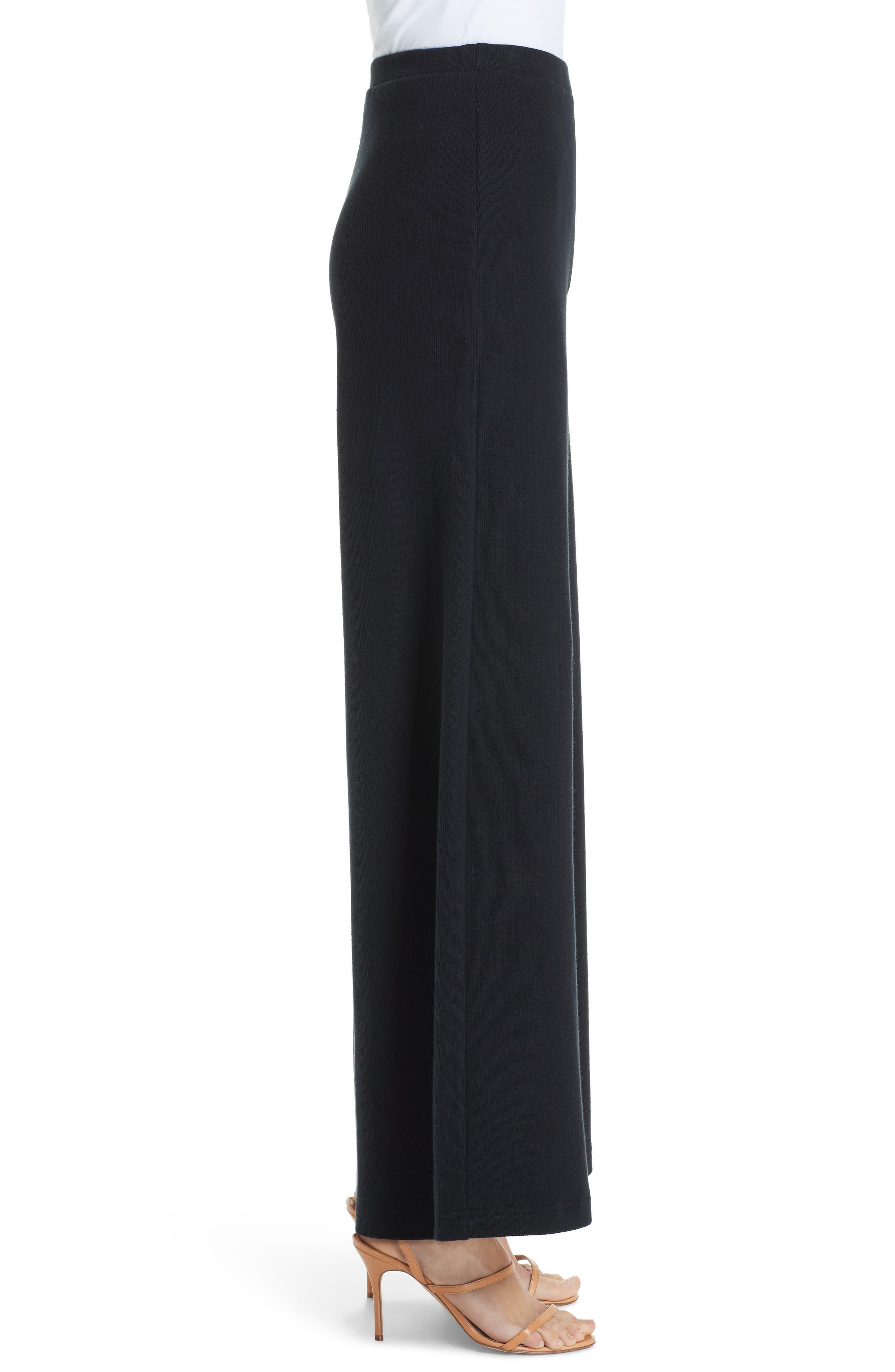 Wide Leg Rib Pants,                             Alternate thumbnail 3, color,                             BLACK
