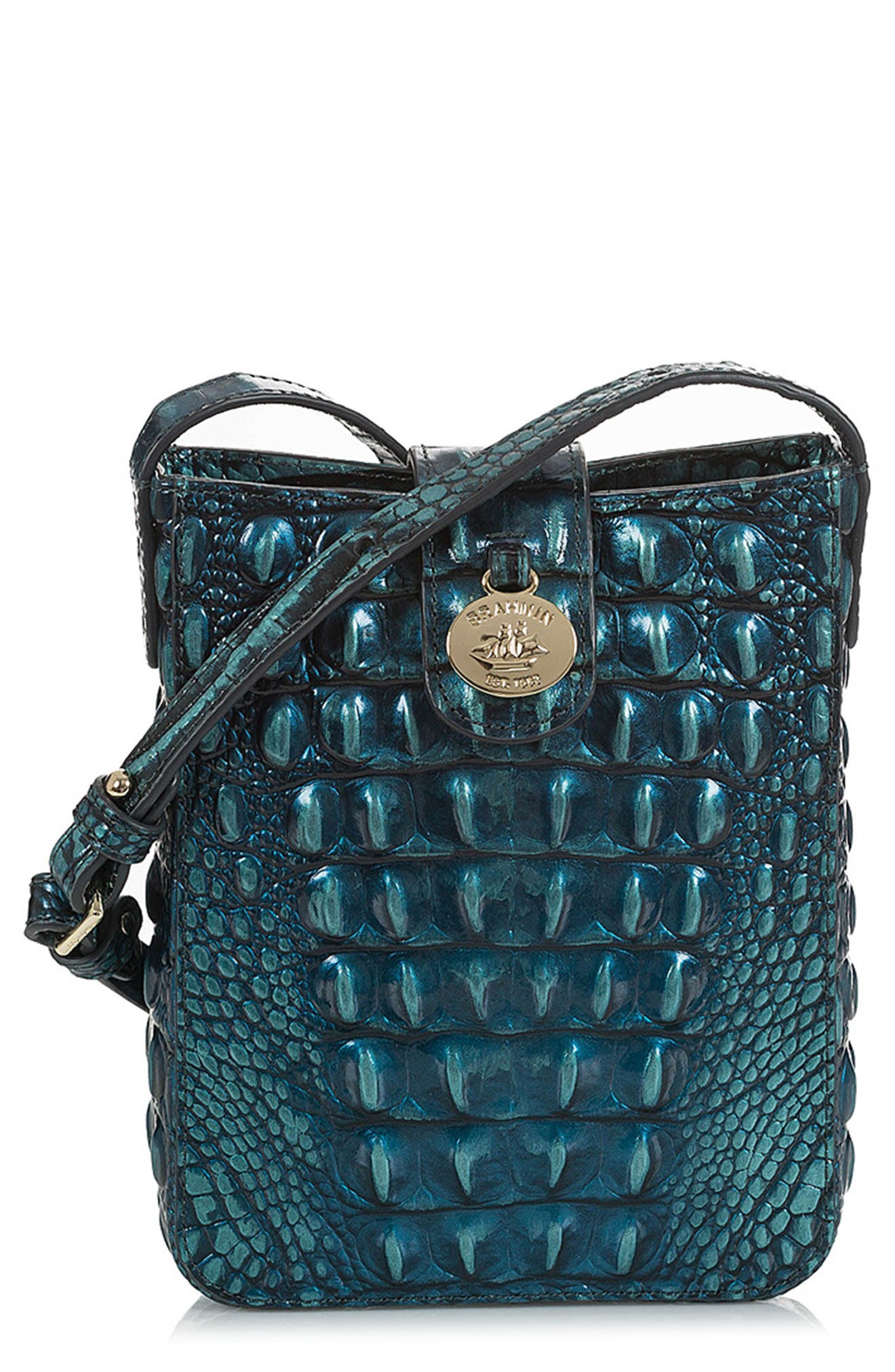 Marley Croc Embossed Leather Crossbody Bag,                         Main,                         color, VERDIGRIS