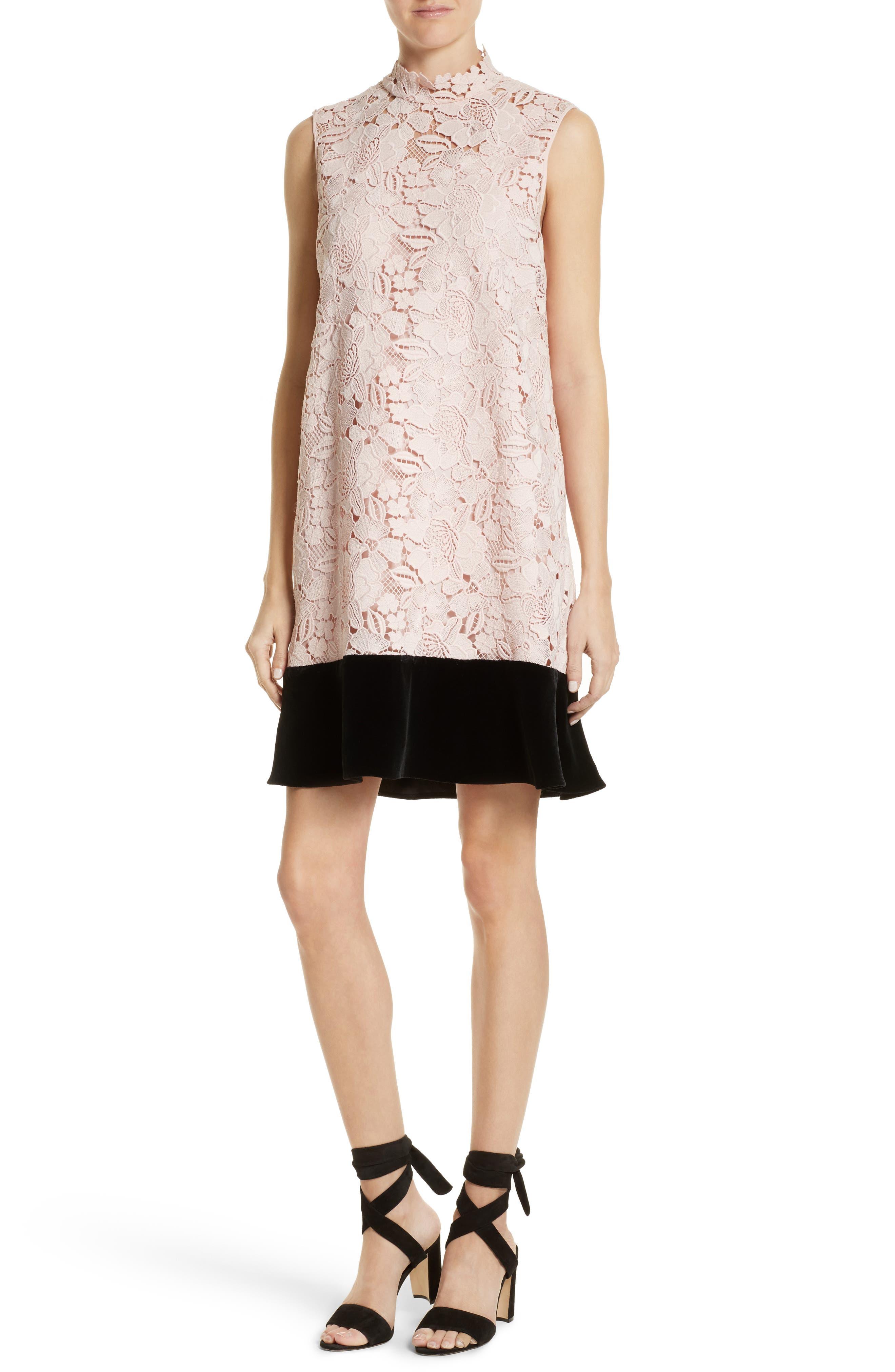 Lace & Velvet Shift Dress,                             Main thumbnail 1, color,                             100