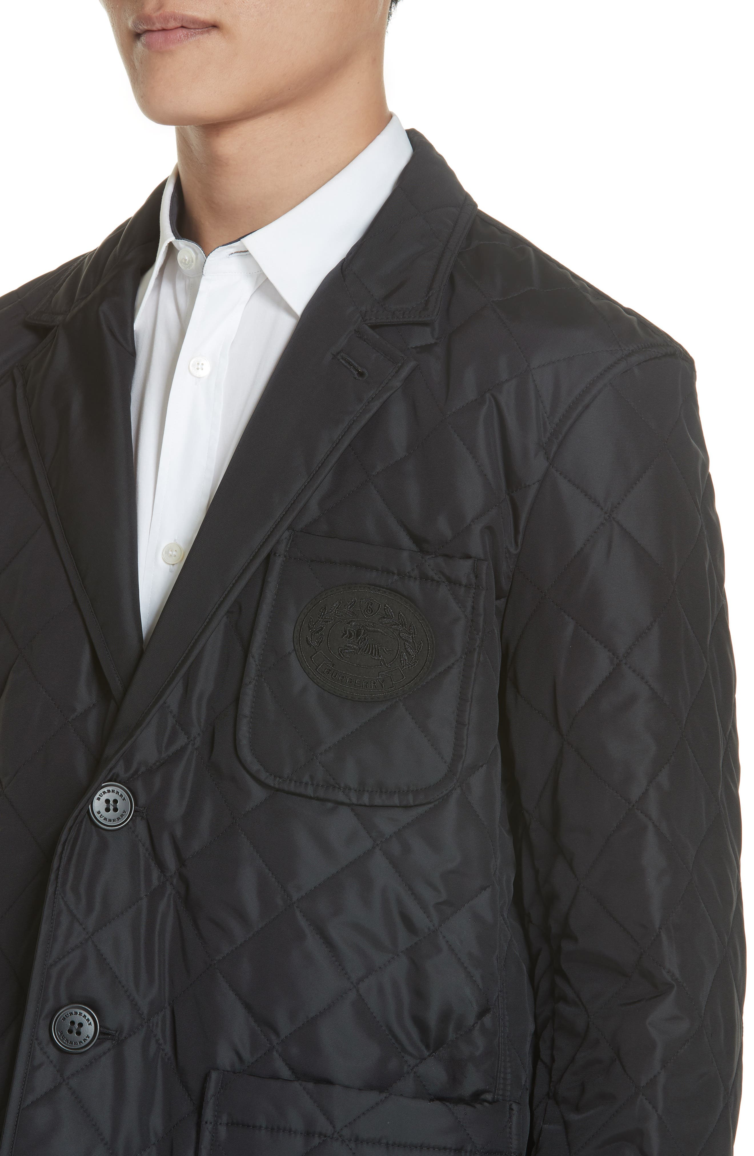 Clifton Quilted Blazer,                             Alternate thumbnail 4, color,                             BLACK