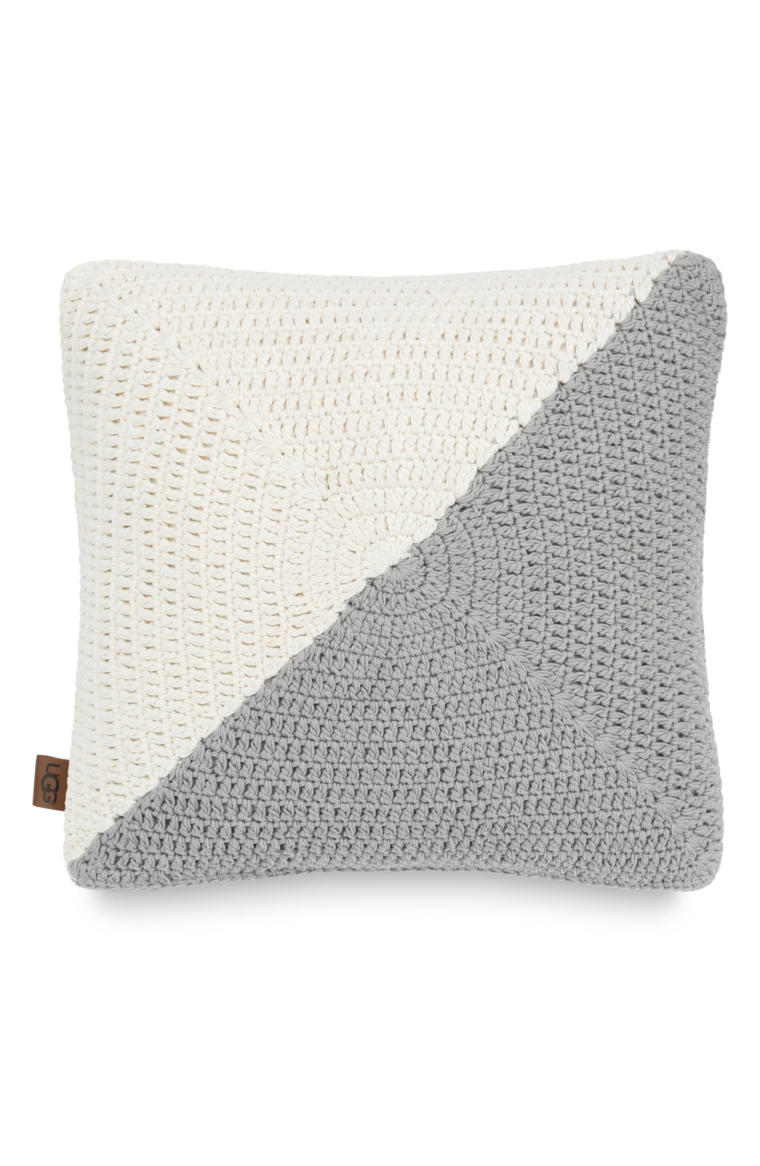 UGG<SUP>®</SUP> Colorblock Crochet Accent Pillow, Main, color, SEAL/ SNOW