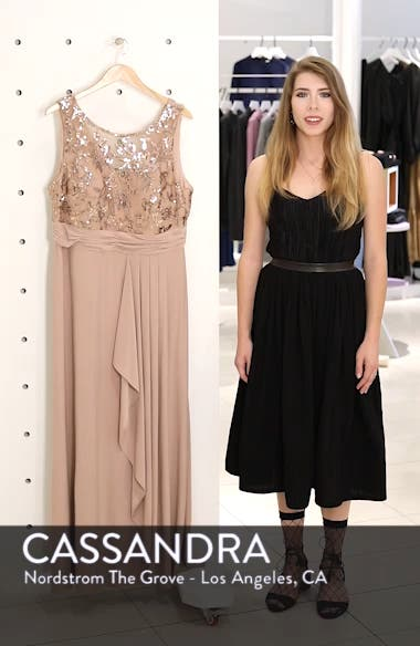 Sequin Lace Bodice Ruffle Skirt Knit Gown, sales video thumbnail