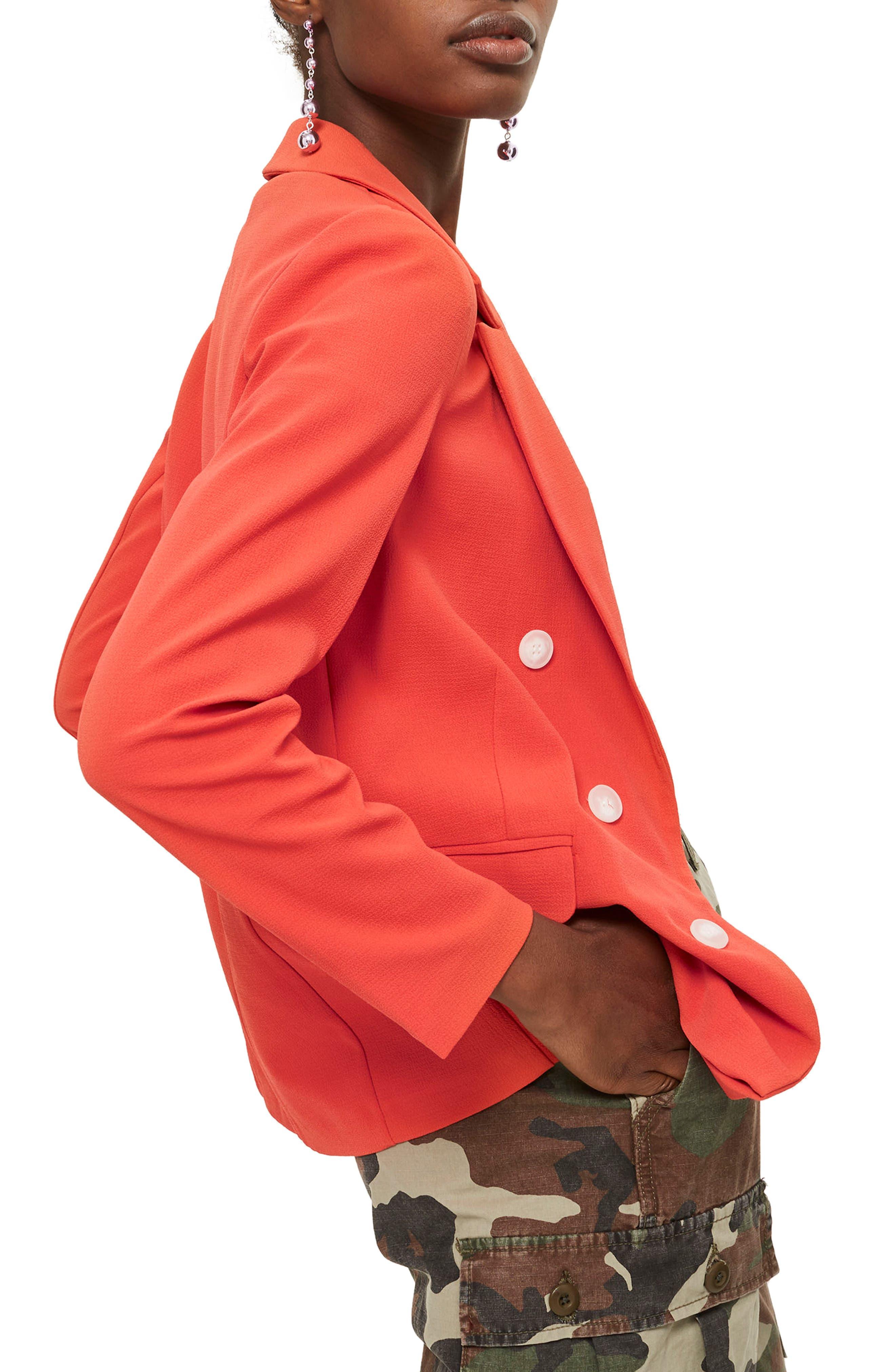 Bonded Bubble Crepe Jacket,                             Alternate thumbnail 4, color,