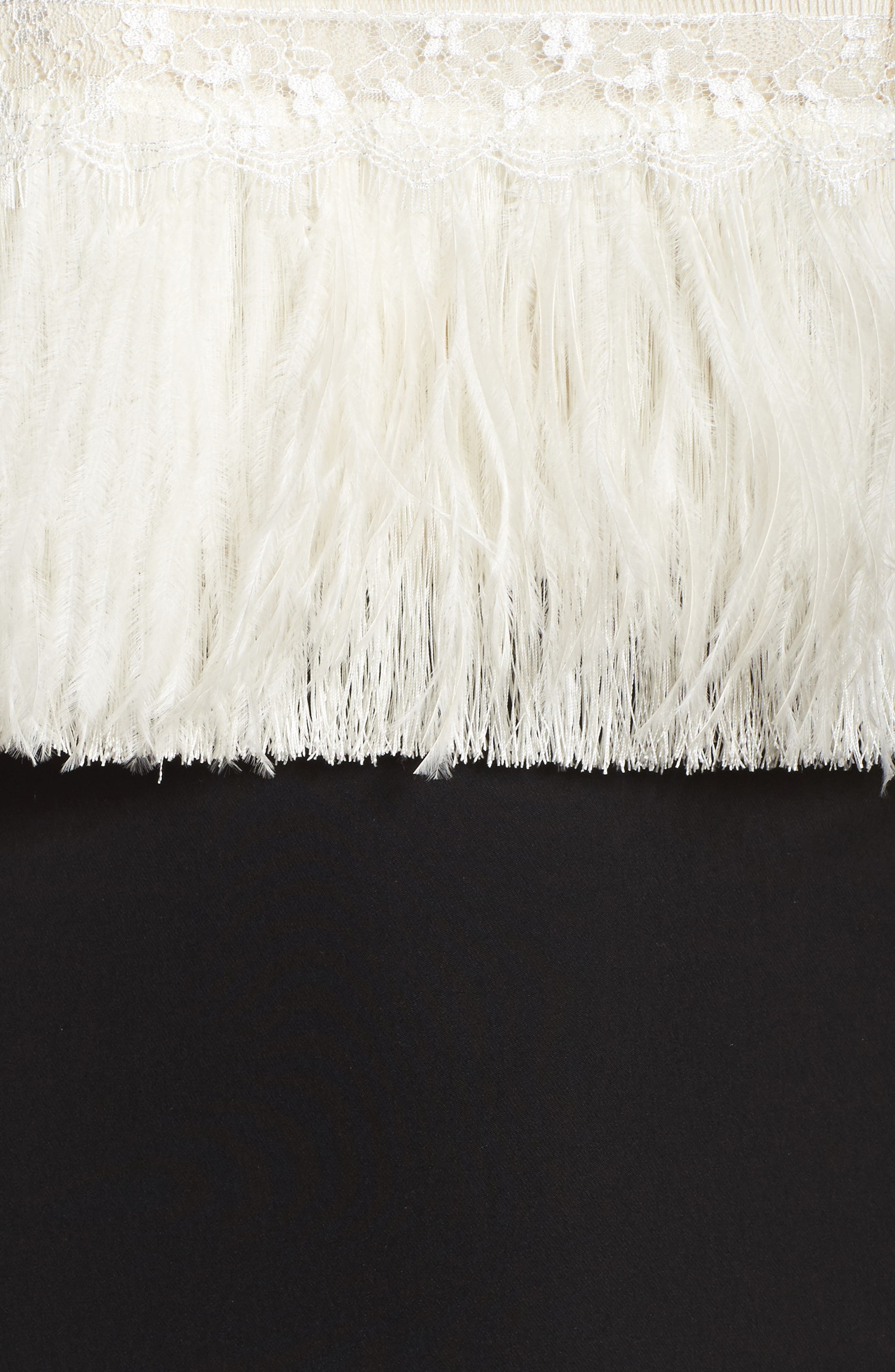 Off the Shoulder Ostrich Feather Gown,                             Alternate thumbnail 5, color,                             007