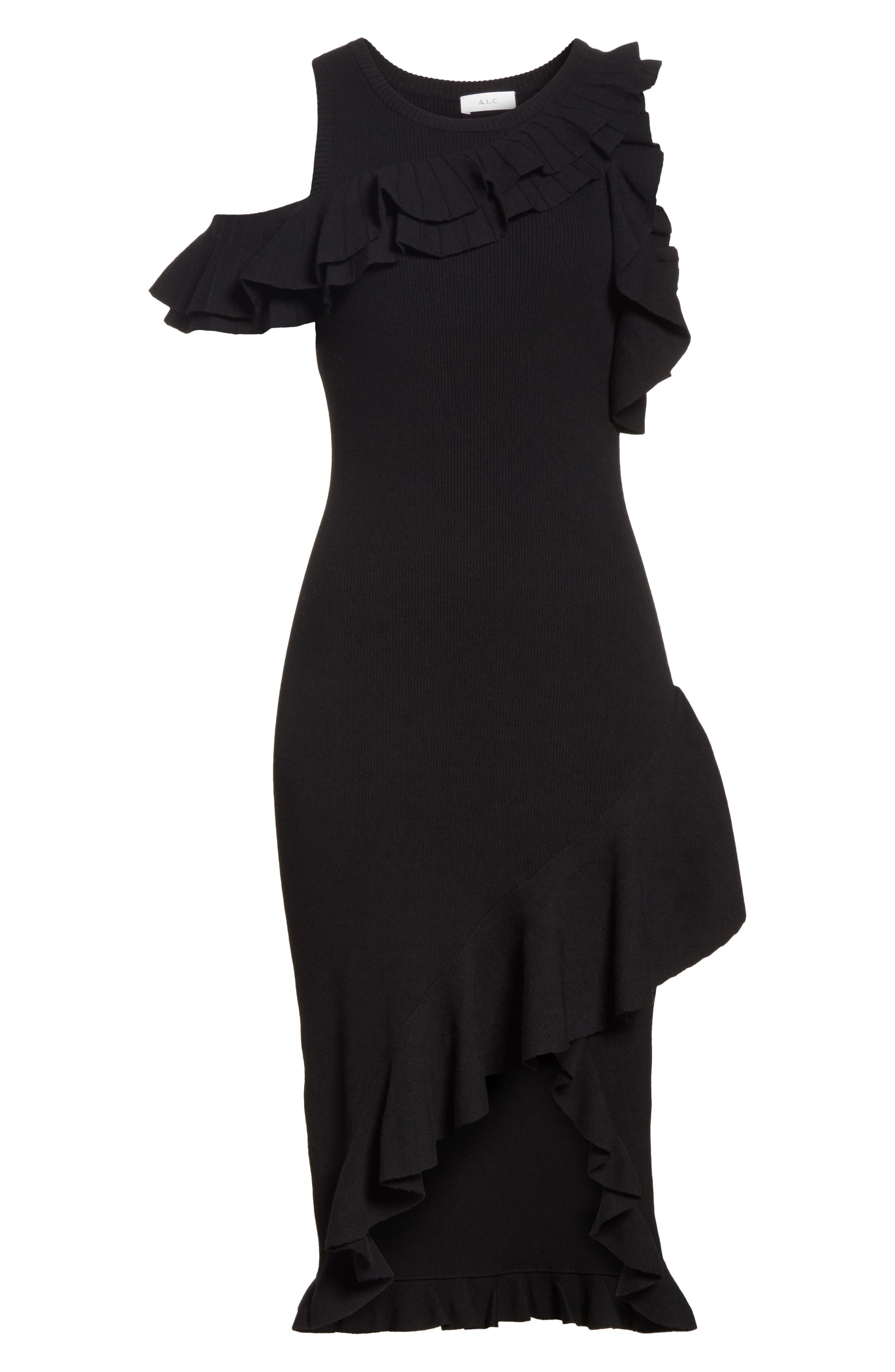 Kellam Ruffle Body-Con Dress,                             Alternate thumbnail 6, color,                             001