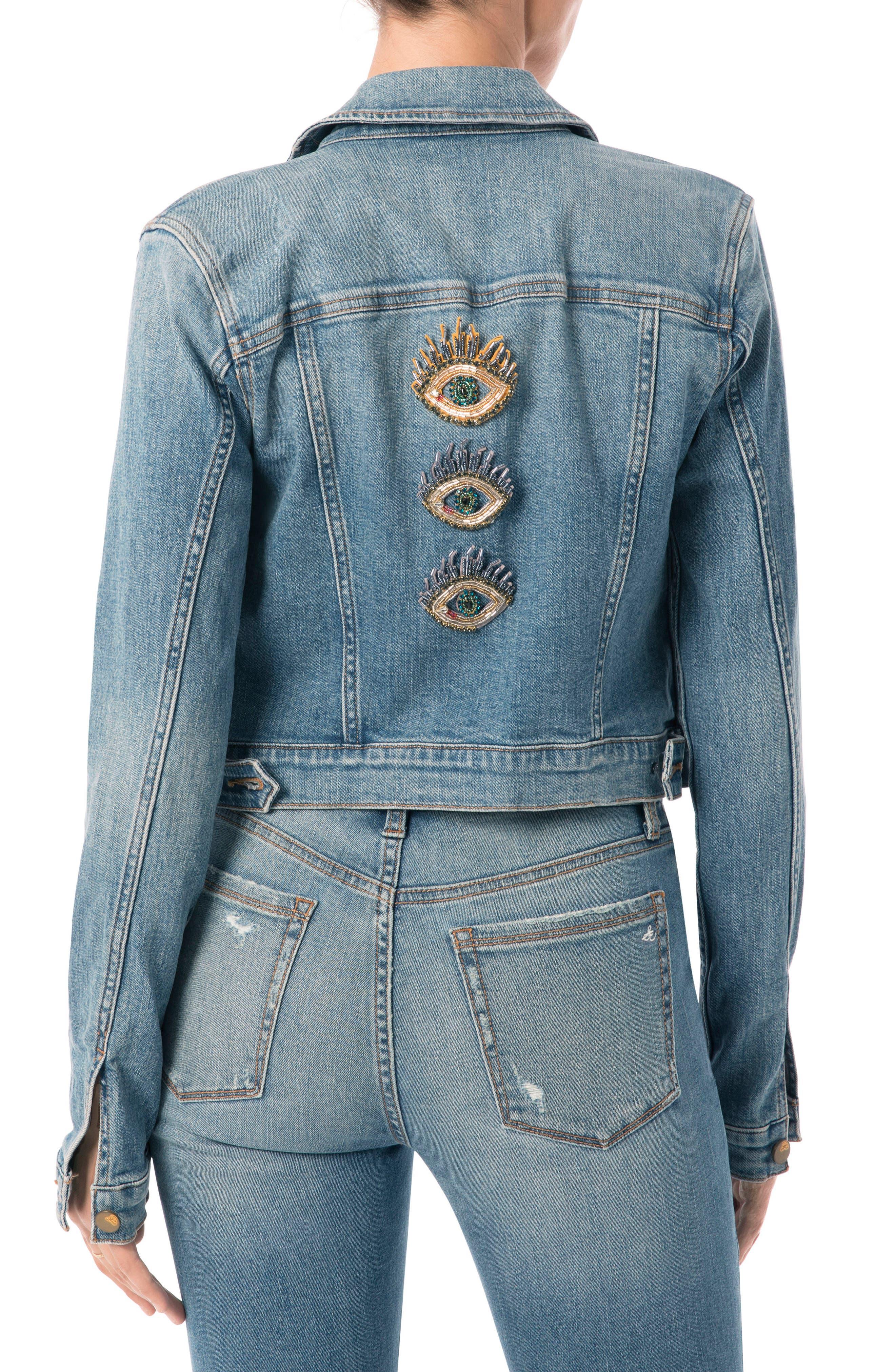 Bridget Embellished Denim Jacket,                             Alternate thumbnail 2, color,                             415