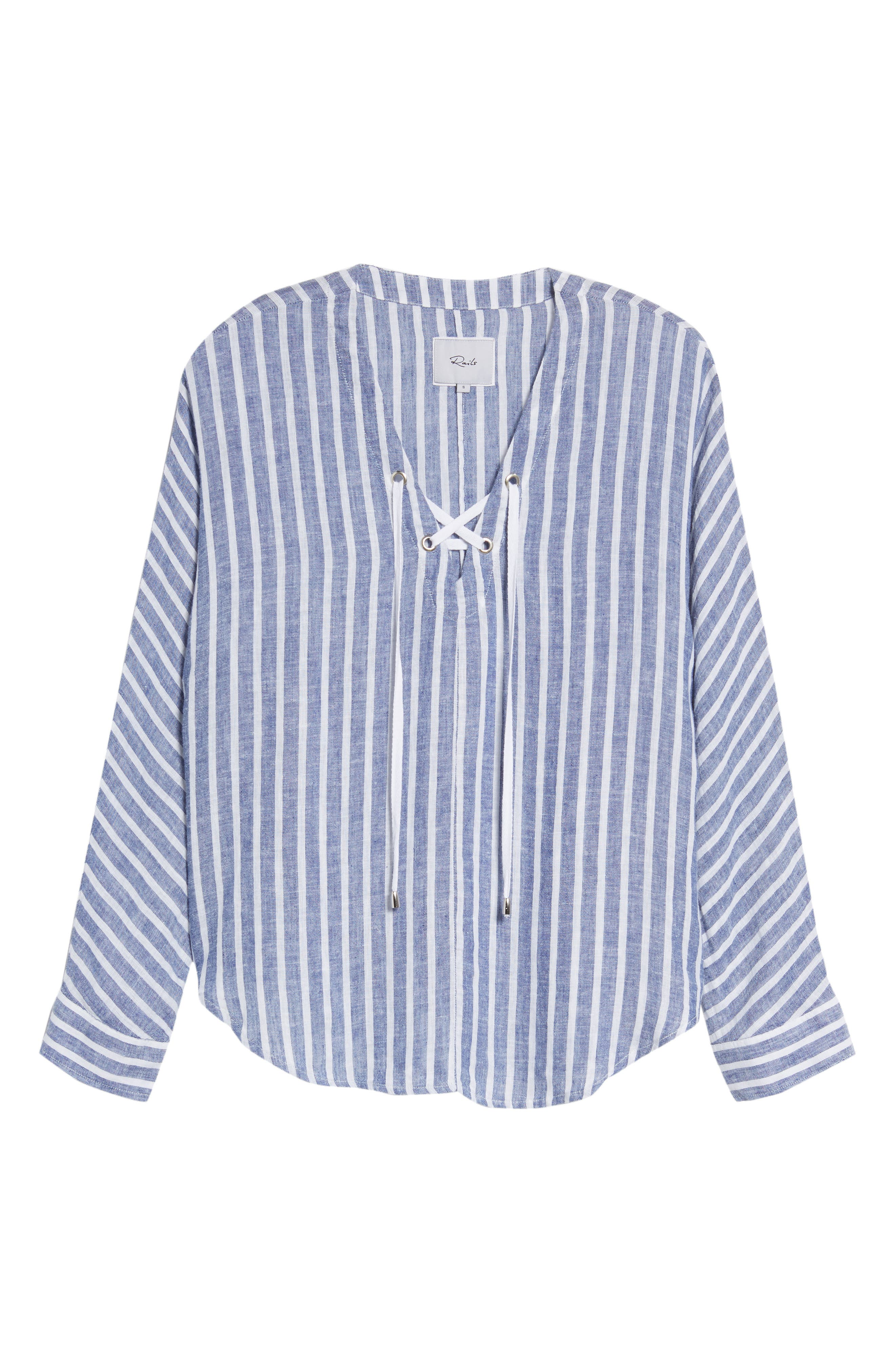 Lily Lace-Up Blouse,                             Alternate thumbnail 6, color,                             PARISIAN BLUE