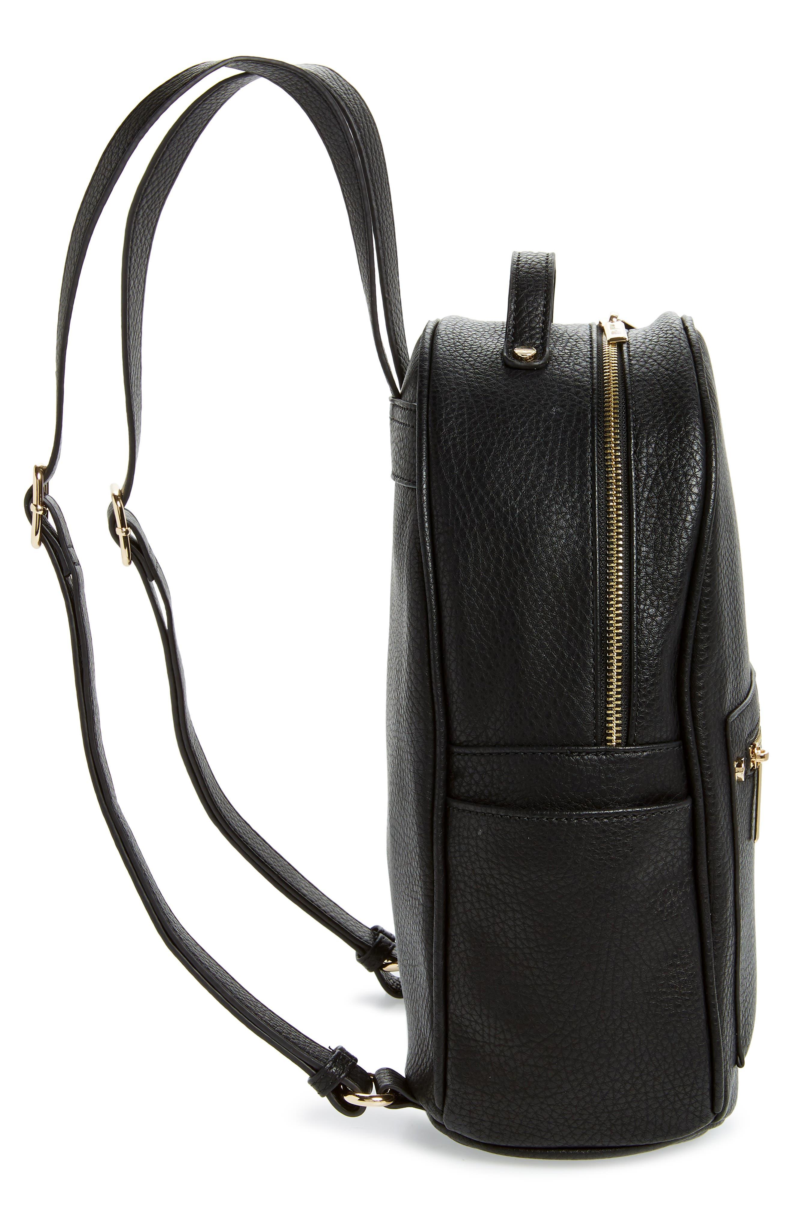 MALI + LILI,                             Addie Vegan Leather Backpack,                             Alternate thumbnail 5, color,                             BLACK