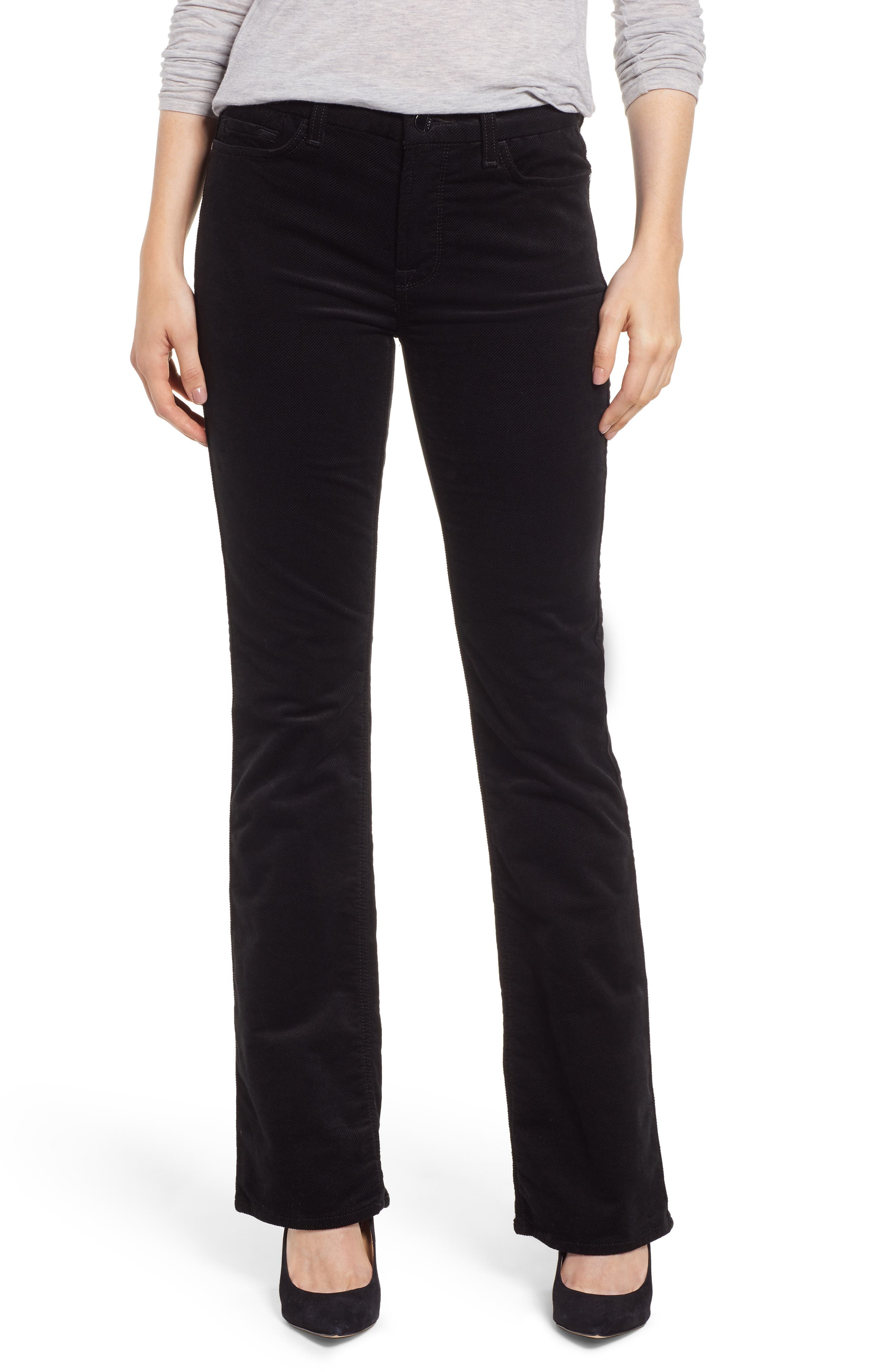 JEN7 BY 7 FOR ALL MANKIND Baby Corduroy Slim-Fit Bootcut Jeans in Black
