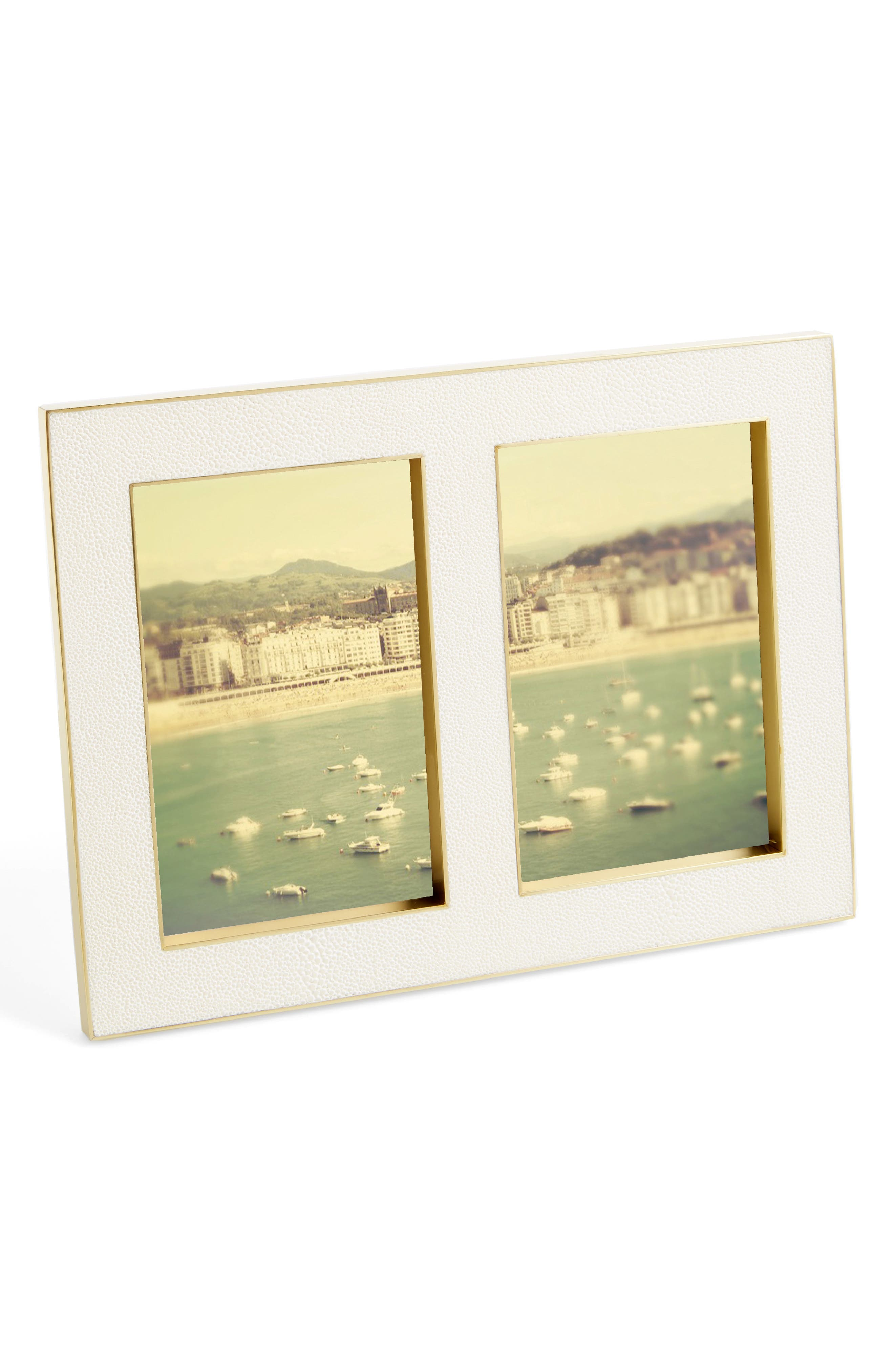 Shagreen Double Picture Frame,                             Main thumbnail 1, color,                             900