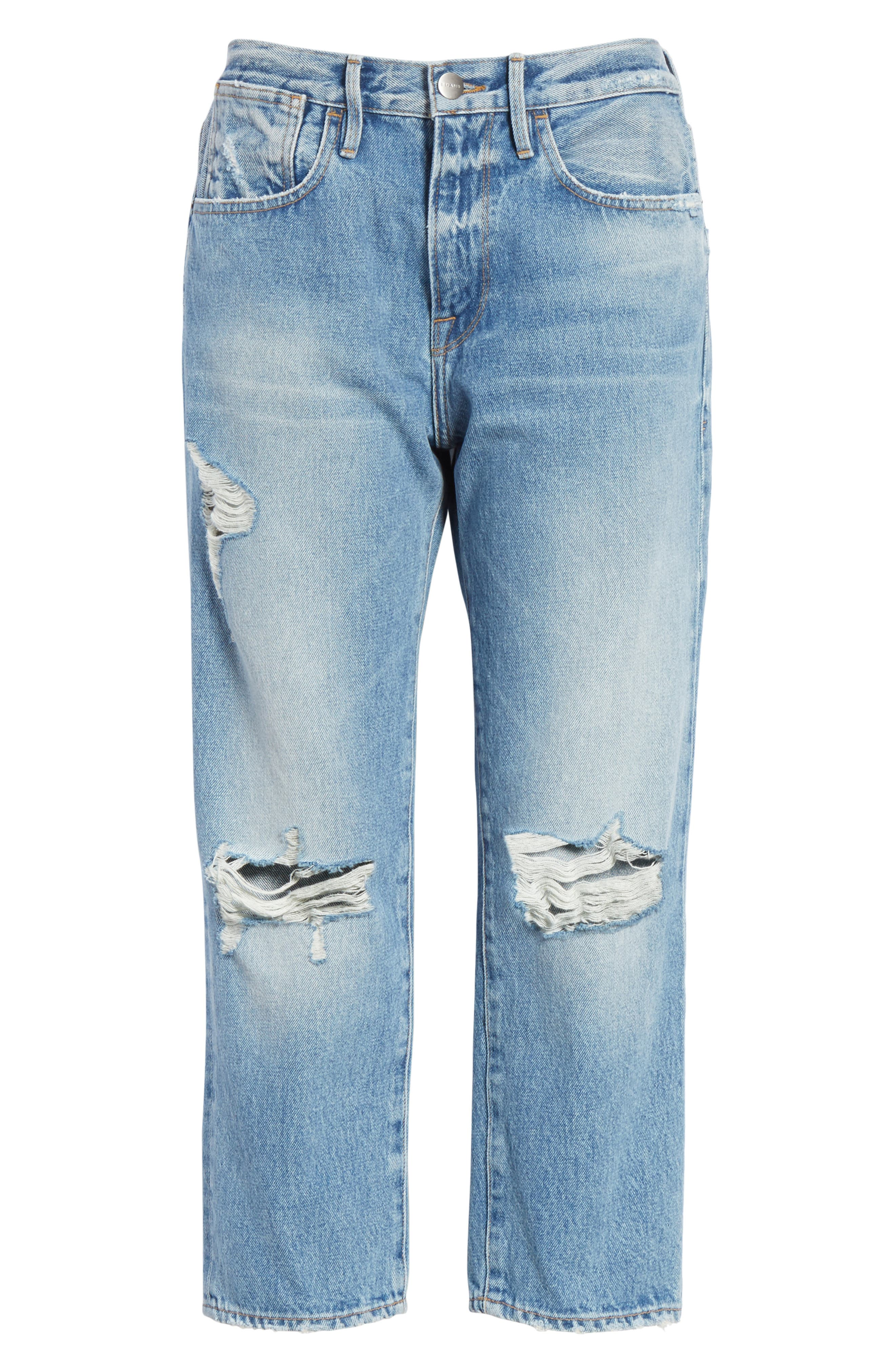 Le Stevie Distressed Crop Jeans,                             Alternate thumbnail 6, color,                             420