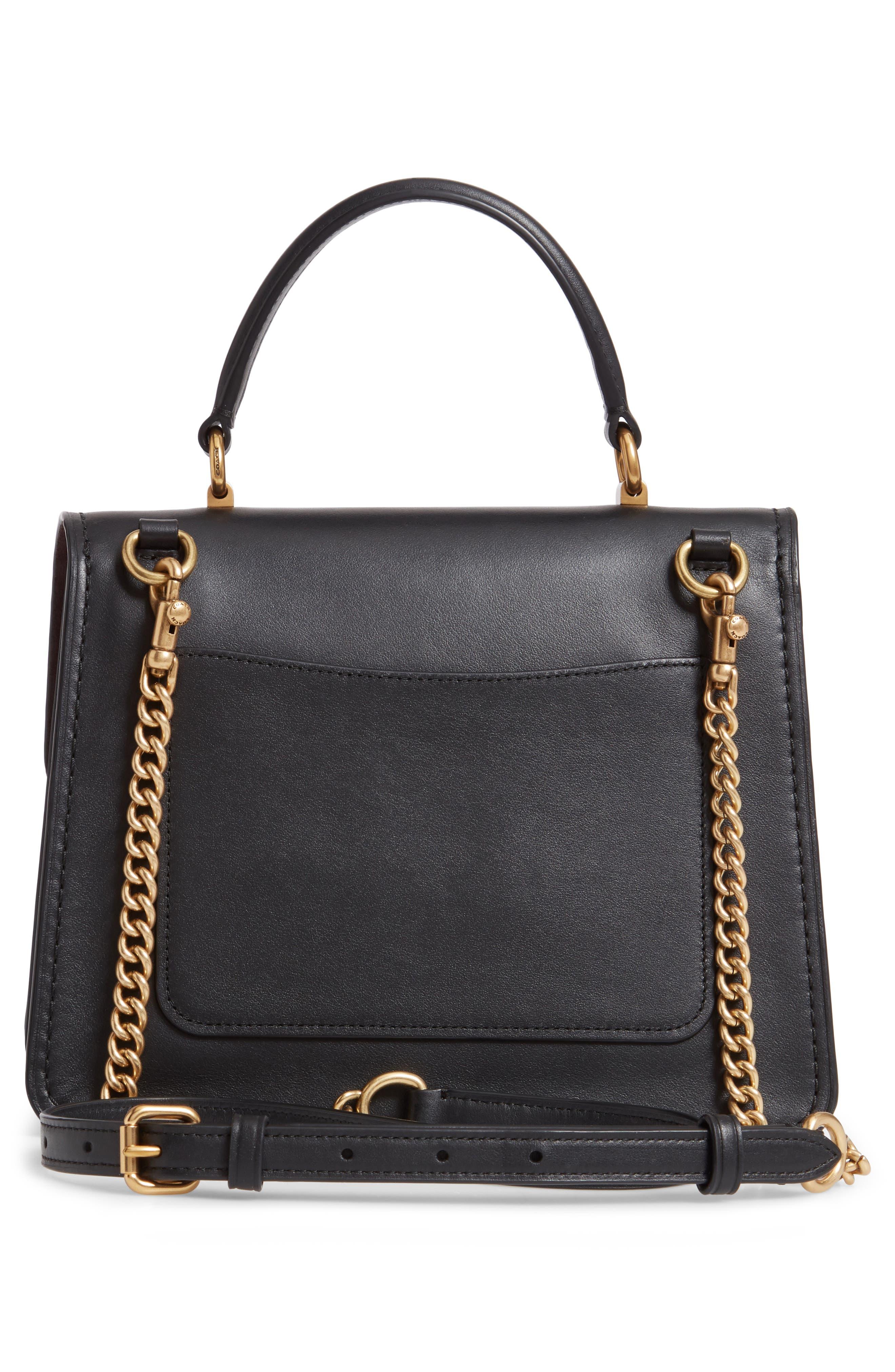 COACH,                             Parker Signature Canvas & Leather Top Handle Shoulder Bag,                             Alternate thumbnail 3, color,                             B4/ BLACK