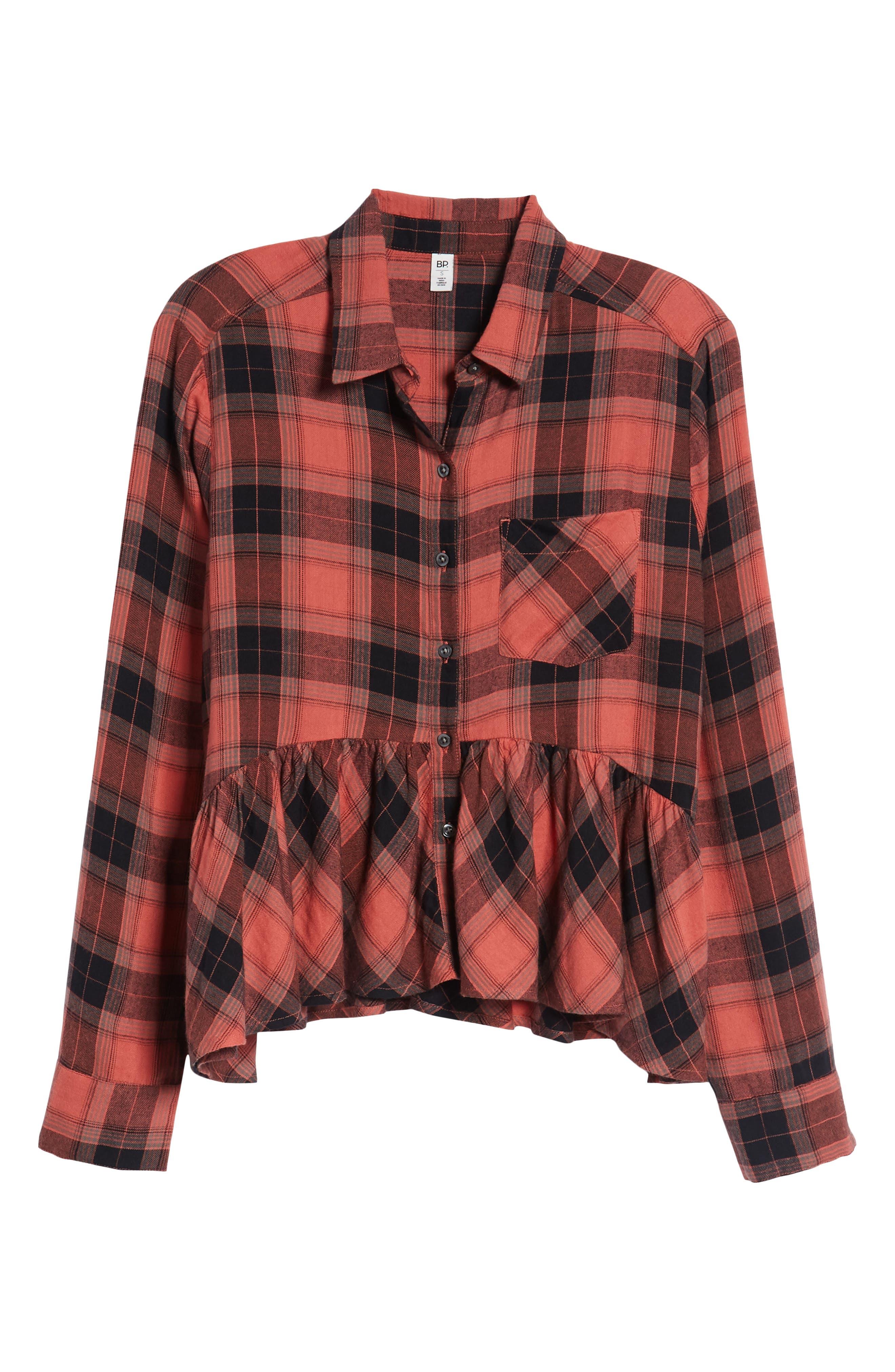 Plaid Peplum Shirt,                             Alternate thumbnail 7, color,                             PINK CEDAR SKETCHY PLAID