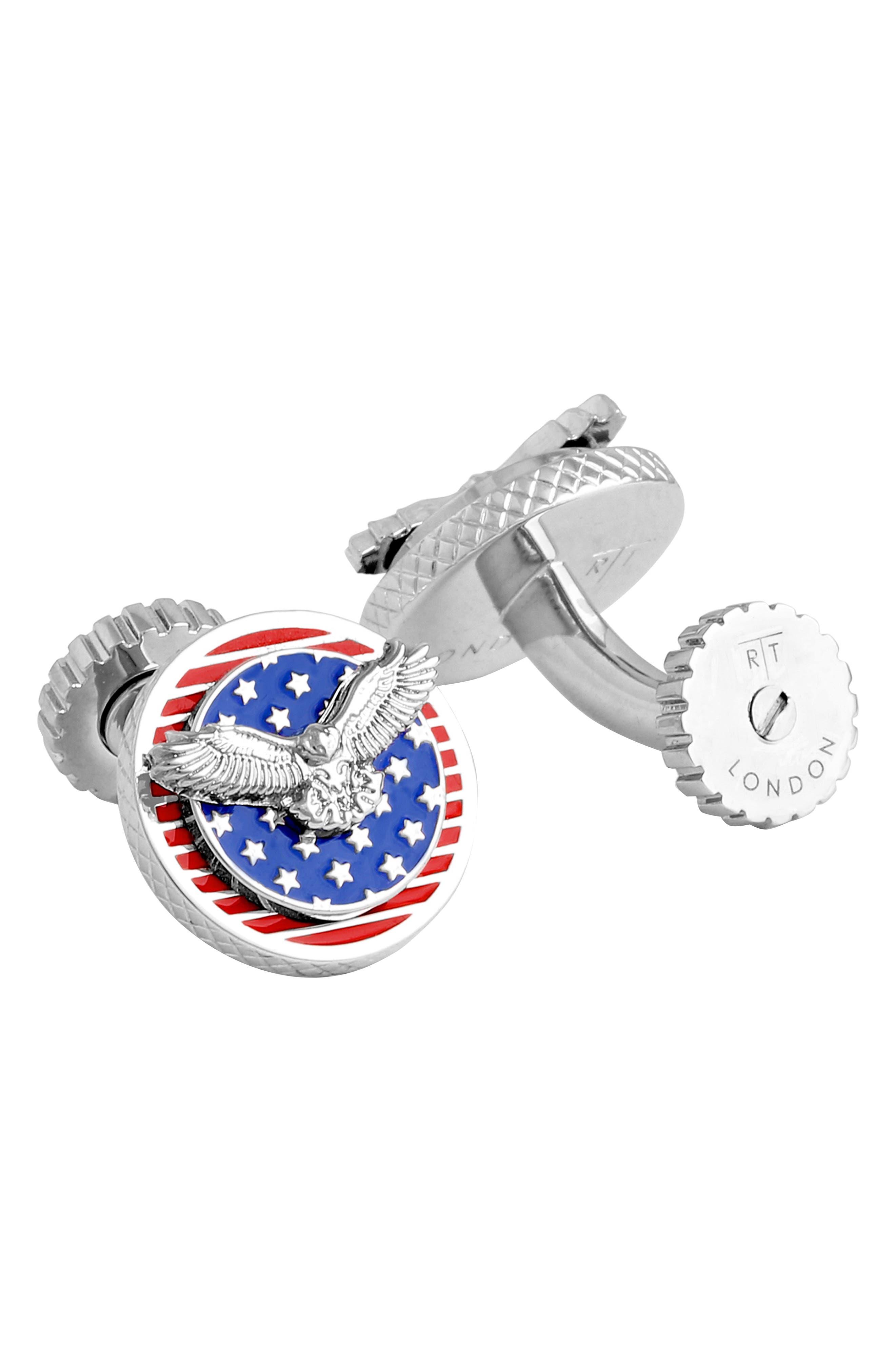 USA Rotating Flag Cuff Links,                             Main thumbnail 1, color,                             012