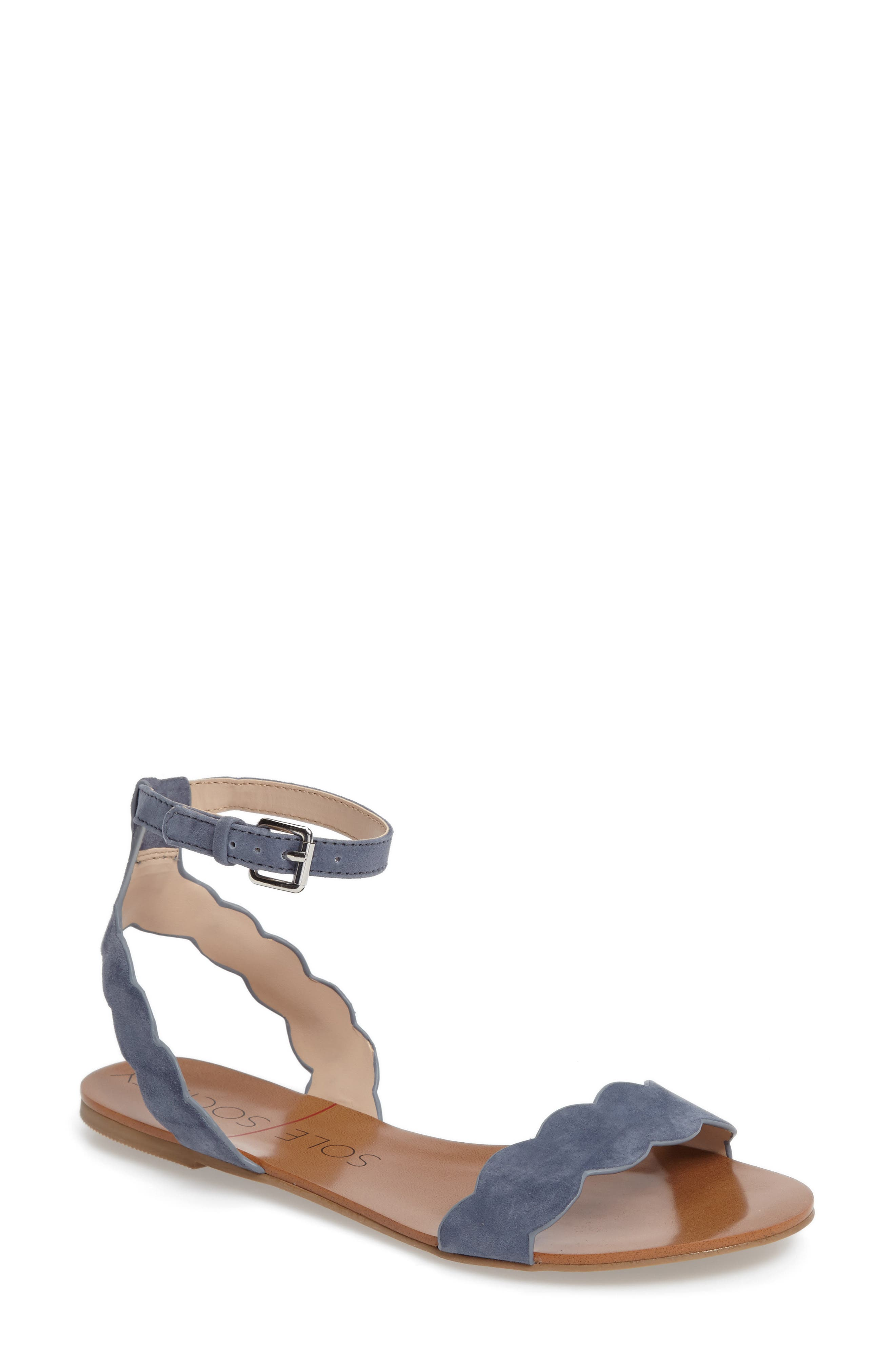 'Odette' Scalloped Ankle Strap Flat Sandal,                             Main thumbnail 6, color,