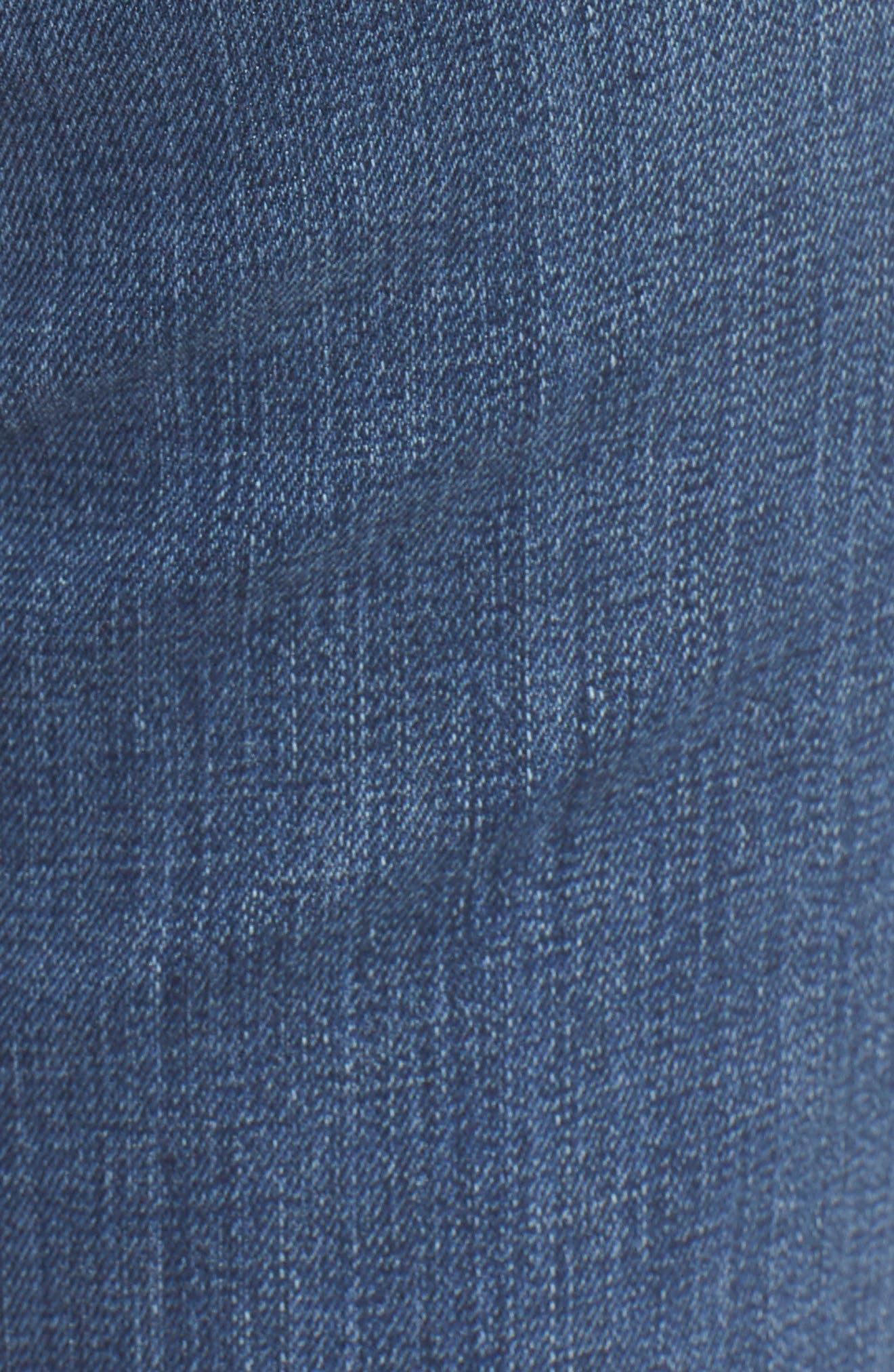 Good Straight Raw Hem High Waist Straight Leg Jeans,                             Alternate thumbnail 5, color,                             401